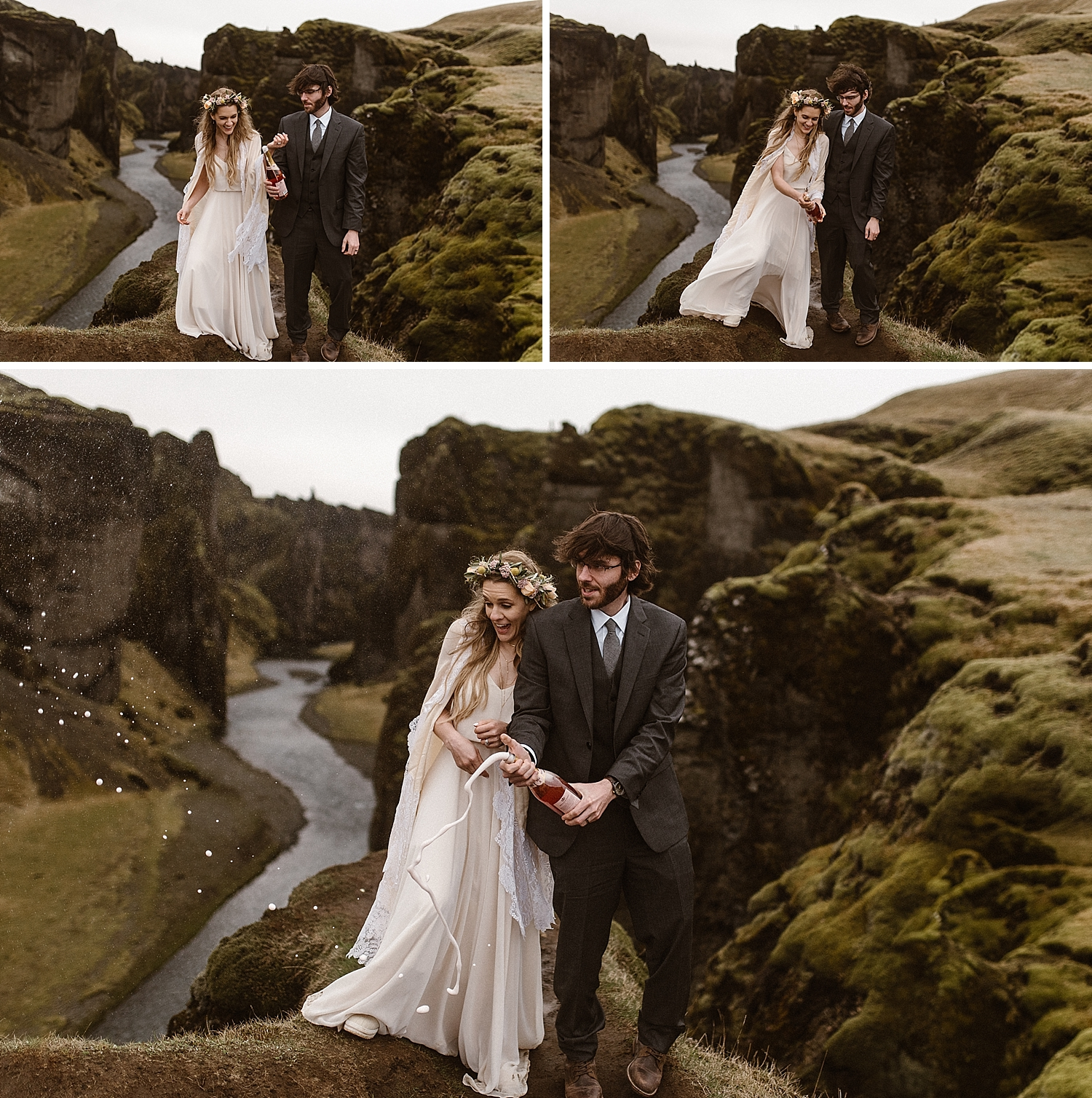 No wedding, elopement or celebration is truly complete without popping off a bottle of something fizzy! This stunning couple eloped up Fjadrargljufur Canyon in Iceland taking only their traveling wedding photographer, Maddie Mae, with them!