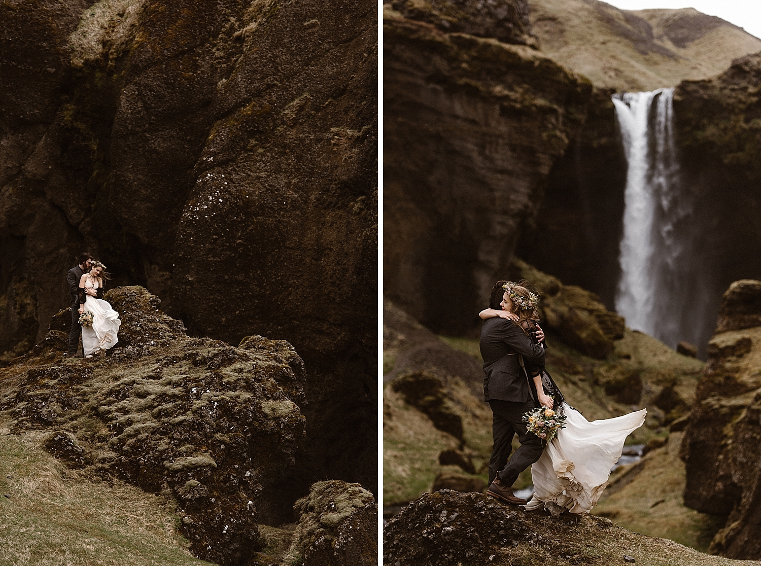 As they rounded the bend, there it was - Kvernufoss waterfall. They paused to take in it's grandeur with the wind whipping around them. This intimate Iceland elopement captured by Maddie Mae Photography.