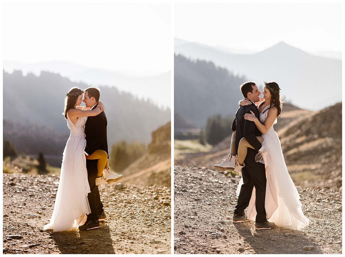 Playfully jumping into her groom's arms like she would when they were first dating brought back all kinds of romantic memories. This adventurous couple threw tradition to the wind and celebrated their nuptials with a private first look at sunrise in the San Juan Mountains and an intimate wedding ceremony at Telluride Ski Resort attended by only their family, closest friends, and their traveling wedding photographer Maddie Mae.