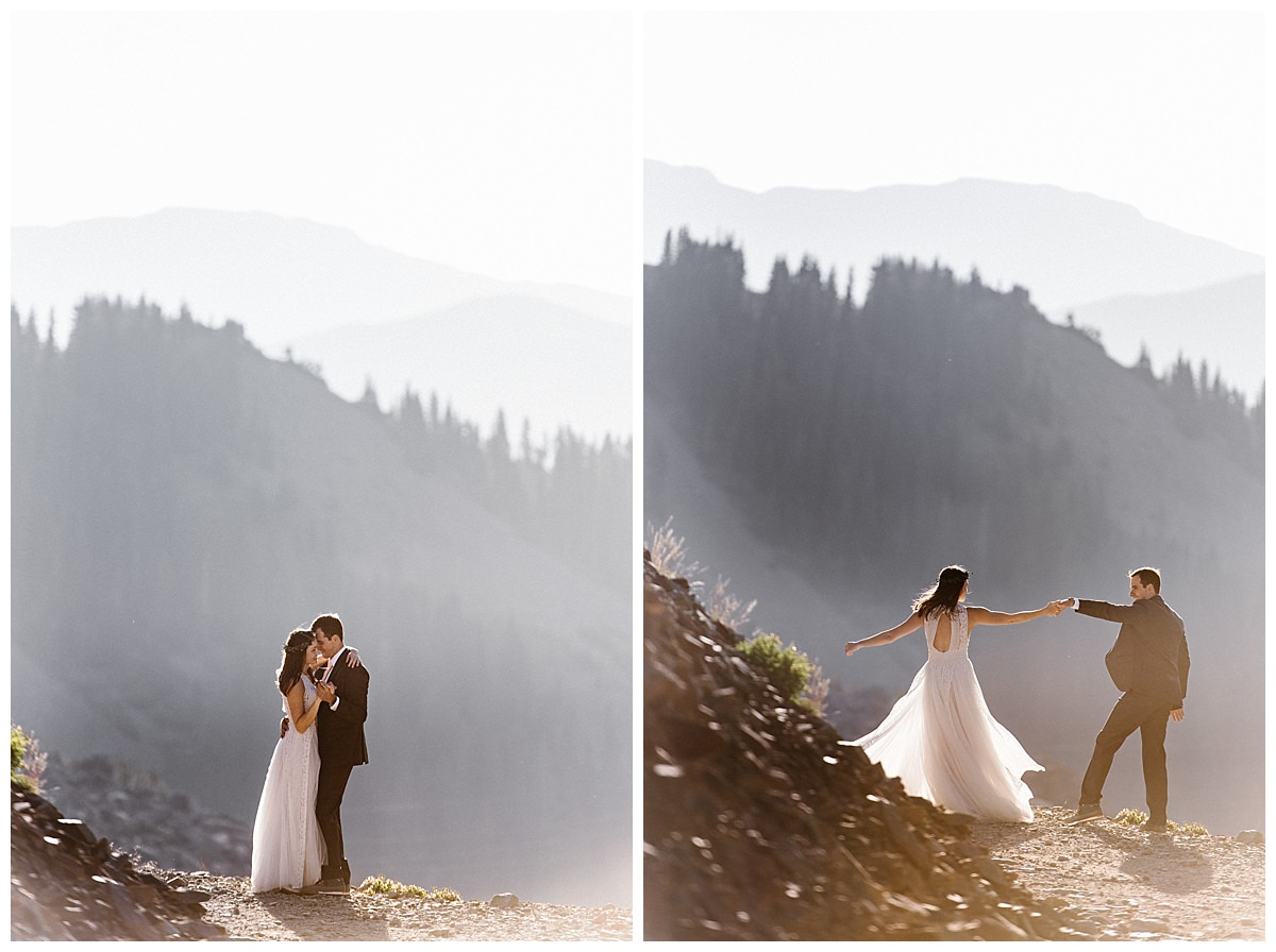 In the privacy of sunrise on a nearly private path, accessible only by 4x4, Joy and Clint danced to the beat of their excited hearts before they headed back down Ophir Pass in the San Juan Mountians toward to Telluride where they would be celebrating their intimate wedding ceremony with only their closest friends, family and their intimate wedding photographer Maddie Mae.