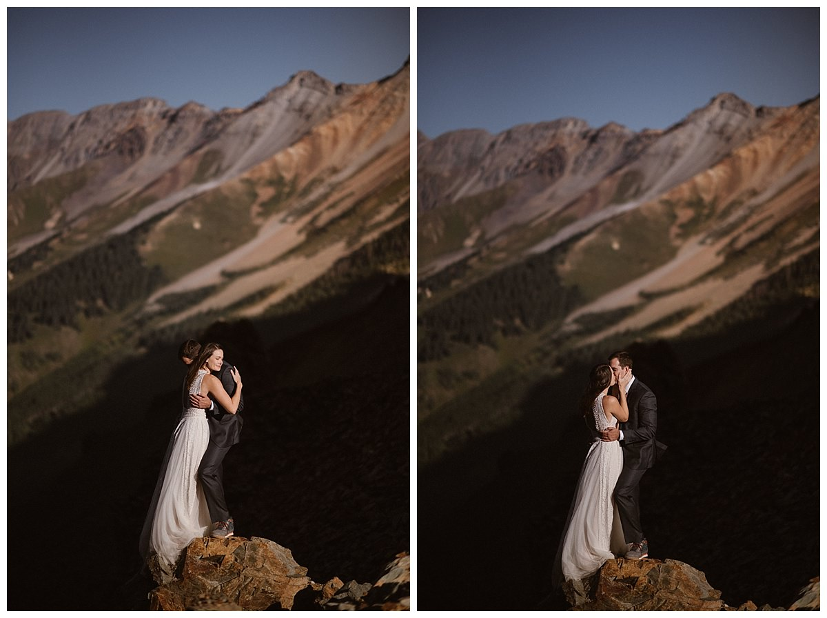 As they embraced high above Telluride in the the San Juan Mountains with the harsh sun at their faces, Clint whispered words meant only for Joy. Their adventurous and private first look up Ophir Pass and their intimate wedding at the Telluride Ski Resort were captured by traveling elopement photographer Maddie Mae.
