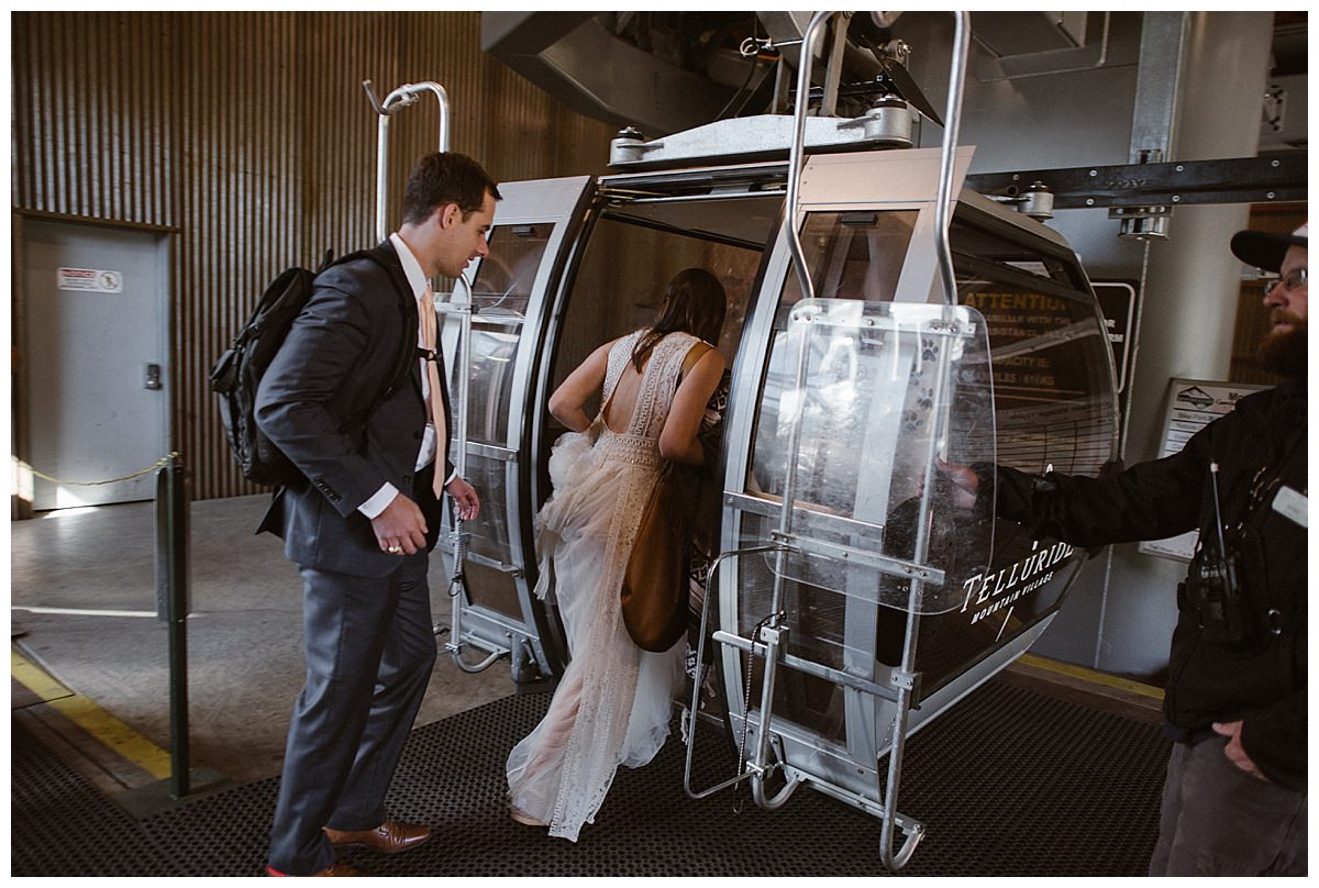 Hoping into a private gondola at the Telluride Ski Resort, they were about to meet with the rest of their bridal part and say their intimate wedding vows with the San Juan Mountains as their backdrop. Photos of this romantic mountain wedding by traveling elopement photographer Maddie Mae.