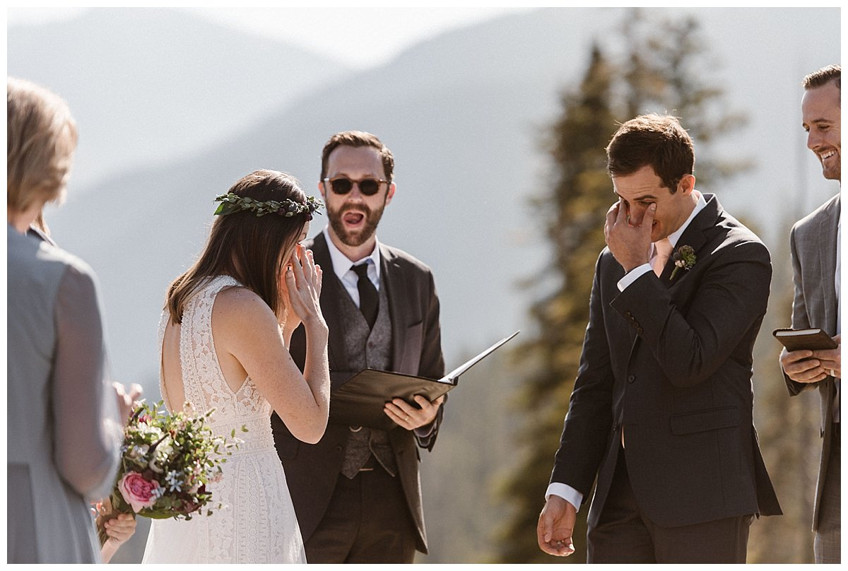 As they wiped the tears from their eyes, they began their intimate wedding ceremony at Telluride Ski Resort. This romantic intimate wedding was captured by Colorado native and traveling elopement photographer Maddie Mae.