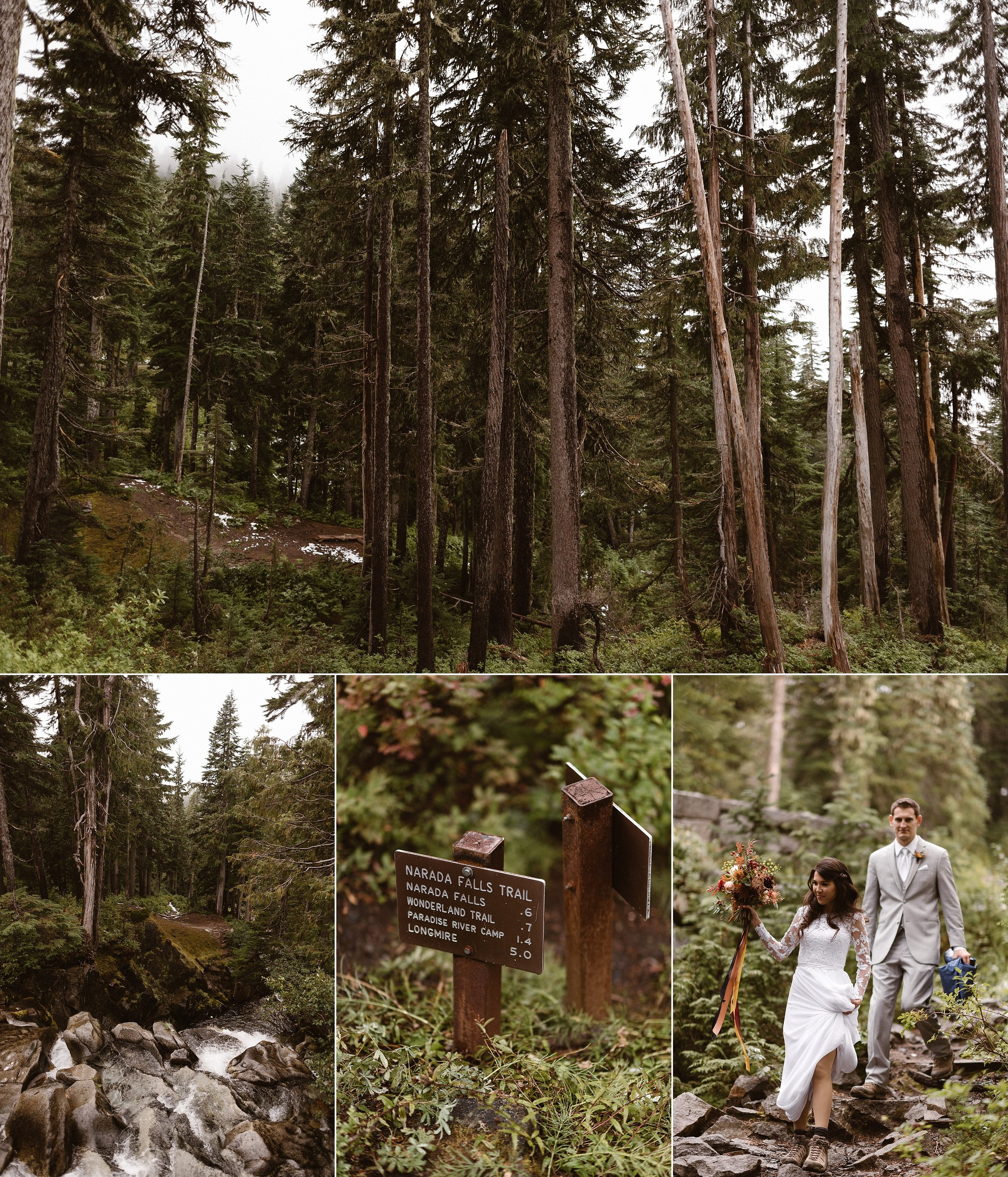 They hiked away from the clearing in their wedding clothes and headed down Wonderland Trail in Mount Rainier National Park for their private wedding ceremony in the woods. Resa and Grant were joined by only two of their closest friends and their intimate traveling wedding photographer Maddie Mae.