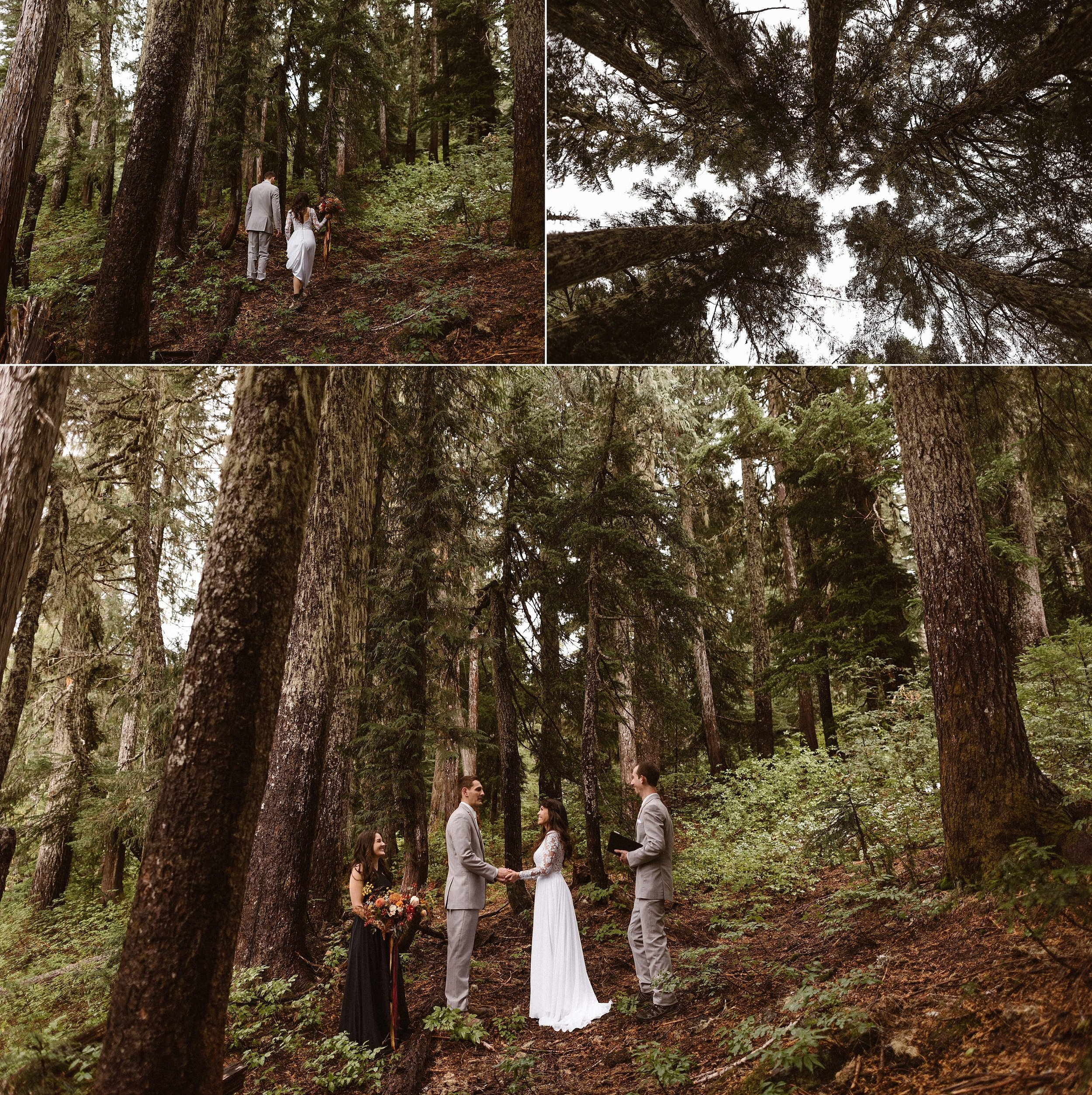 With the fog slowly starting to burn away they began their intimate wedding ceremony surrounded by the tall tress and wild ferns of Mount Rainier National Park. Flanked by two of their closest friends as their witnesses Resa and Grant glowed with delight. This romantic forest elopement captured by traveling elopement photographer Maddie Mae.