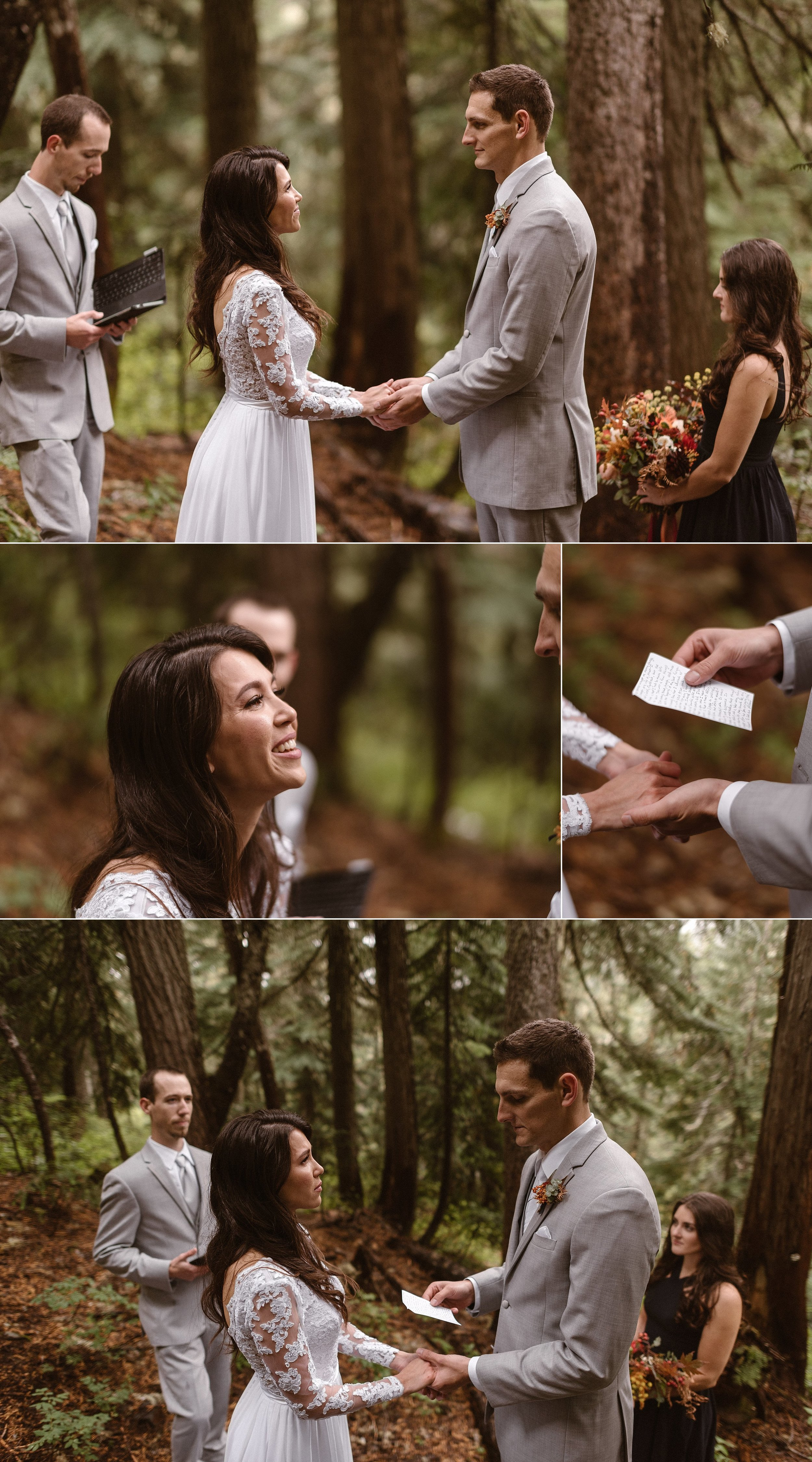 Grant pulled out his hand written wedding vows from his pocket. As he began with jokes Resa couldn't help but giggle at the memories of all they'd gone through. As he ended he told Resa of the promises of the life that he would make sure they would live. Photos of this emotional intimate Mount Rainier National Park forest wedding by traveling elopement photographer Maddie Mae.