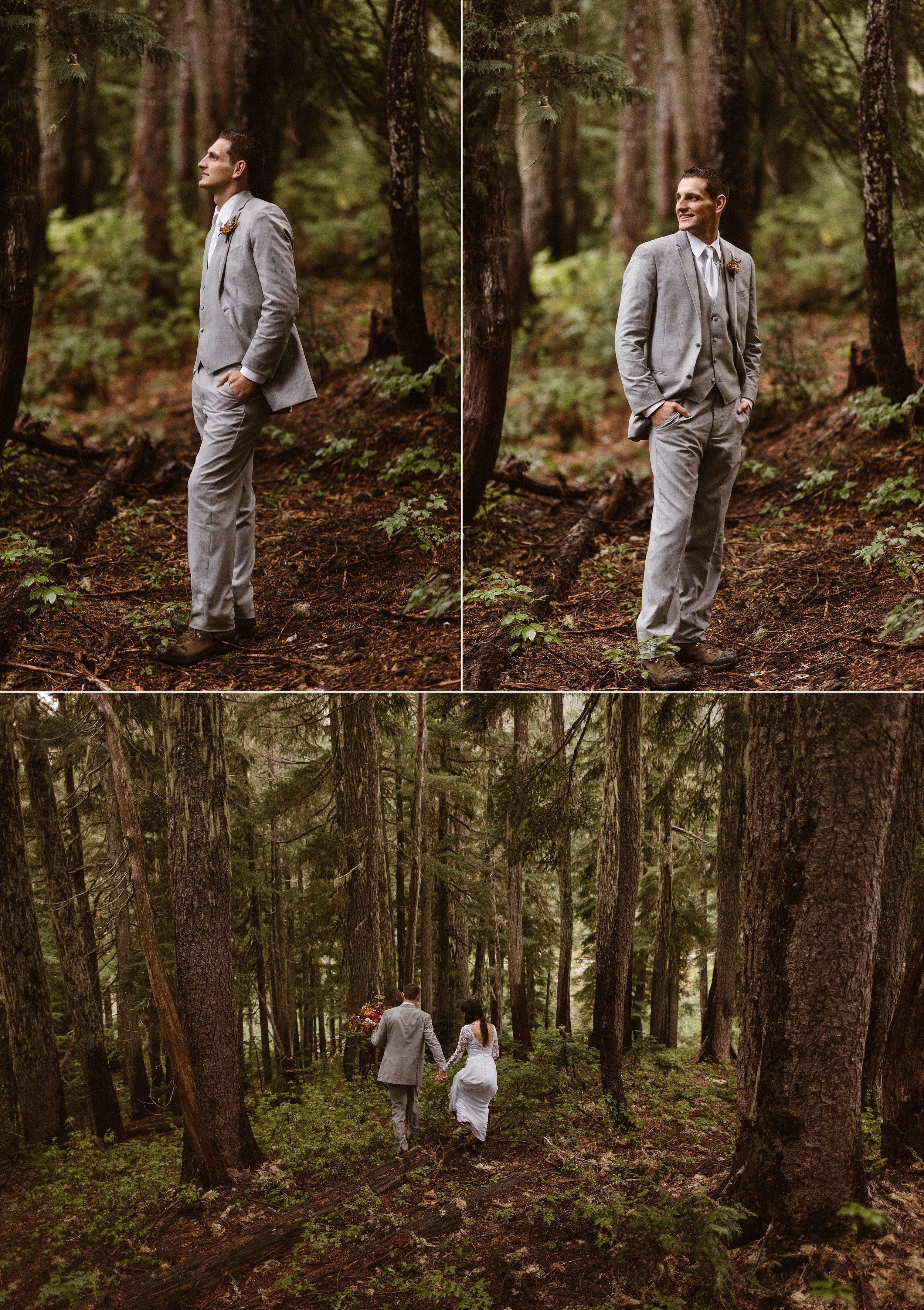 Grant's stood out against the earthy tones of Mount Rainier National Park in his light grey suit. His tall frame mimicking the tall trees that surrounded him. This adventurous couple opted out of a normal wedding and went hiking through the trees with their intimate elopement photographer Maddie Mae.