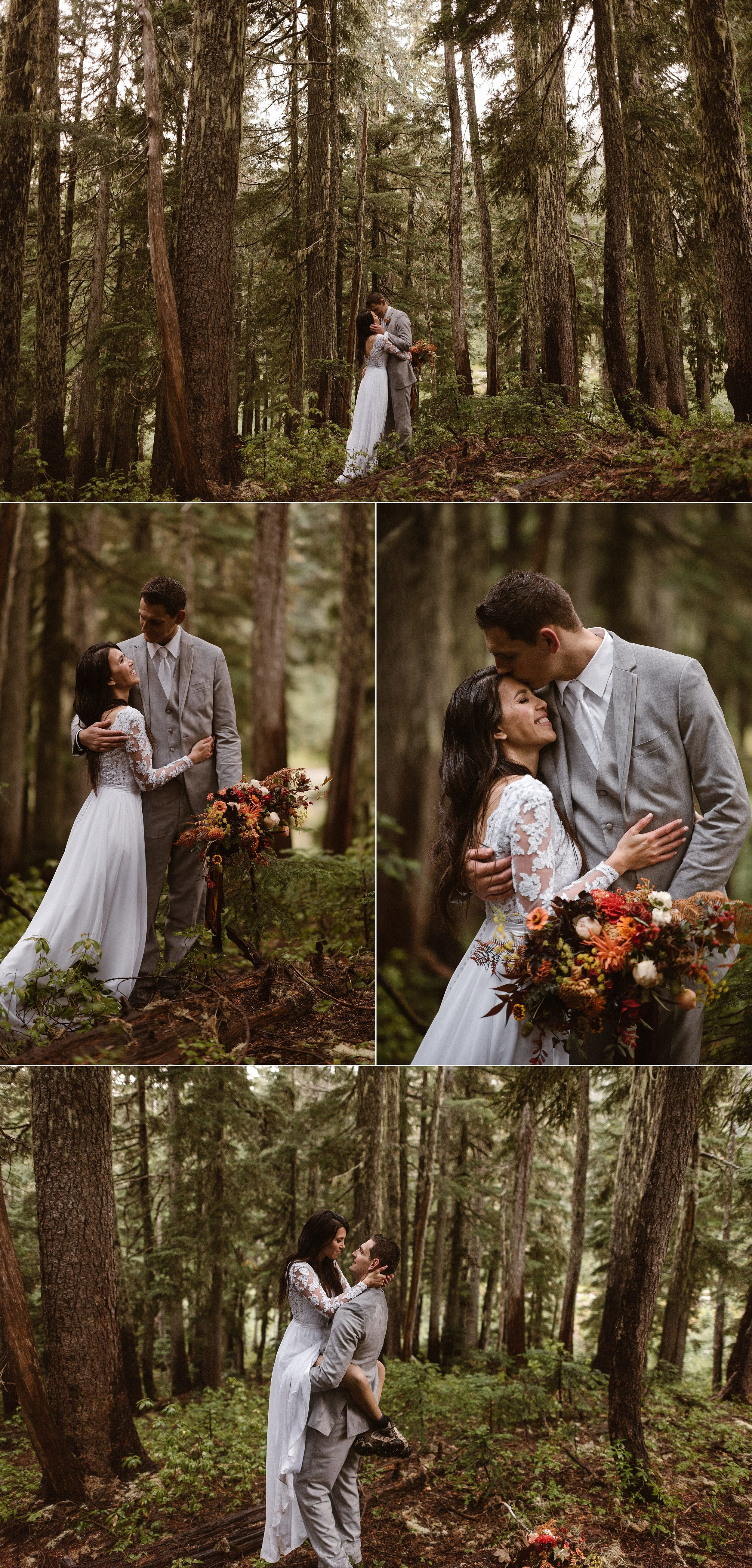 The sun began to peek out through the fog, in typical Pacific Northwest fashion, as they wandered through the woods and rain. Resa jumped into her husbands arms as they shared a moment almost as though no one was there in the forest of Mount Rainier National Park with them. Their intimate elopement photographer Maddie Mae snapped away capturing each dreamy elopement moment.
