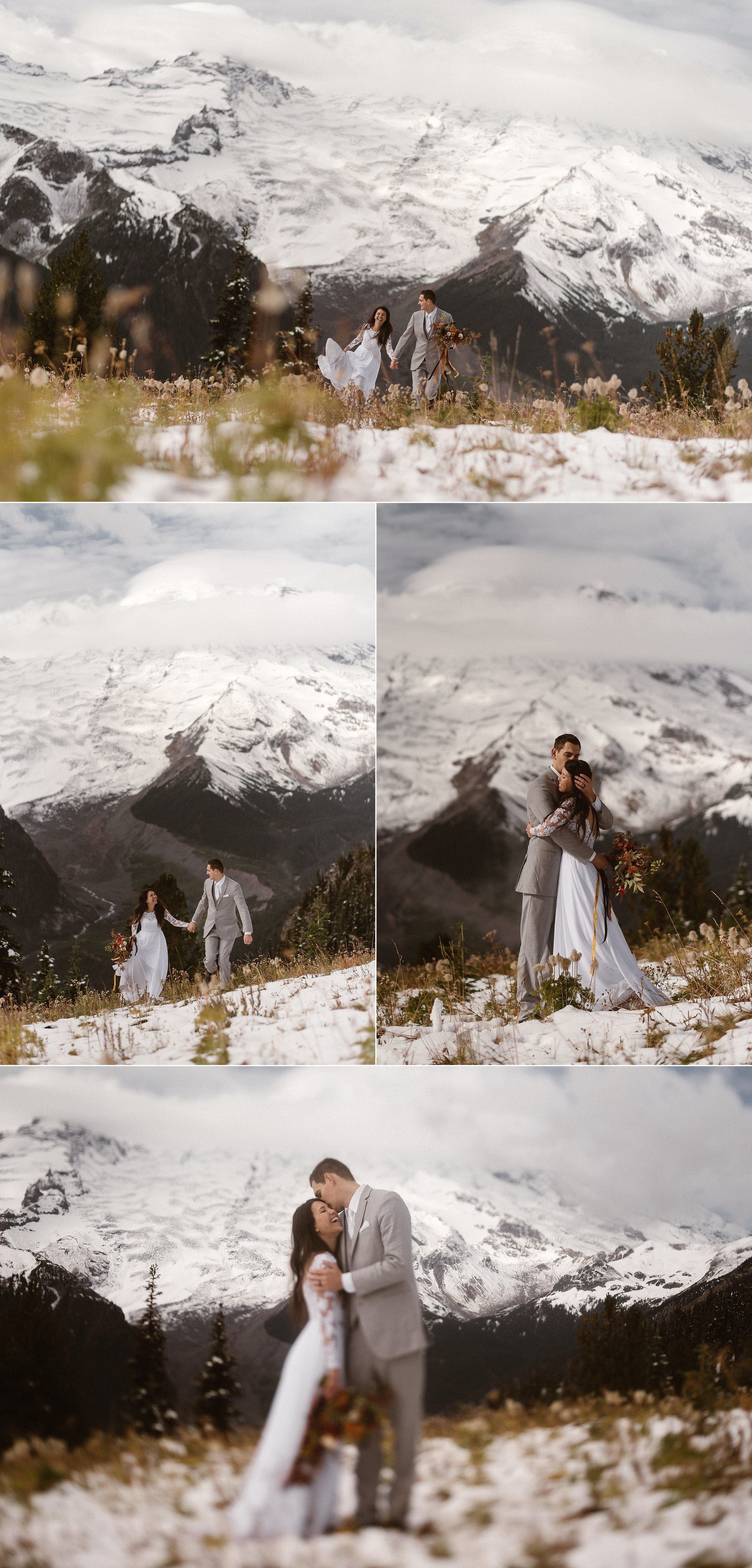 They made their way above the clouds into the snow and sunshine of Mount Rainier National Park. Ready for anything in their hiking boots they wandered through the snow after their intimate elopement ceremony with their traveling wedding photographer Maddie Mae for some snowy bridal portraits.