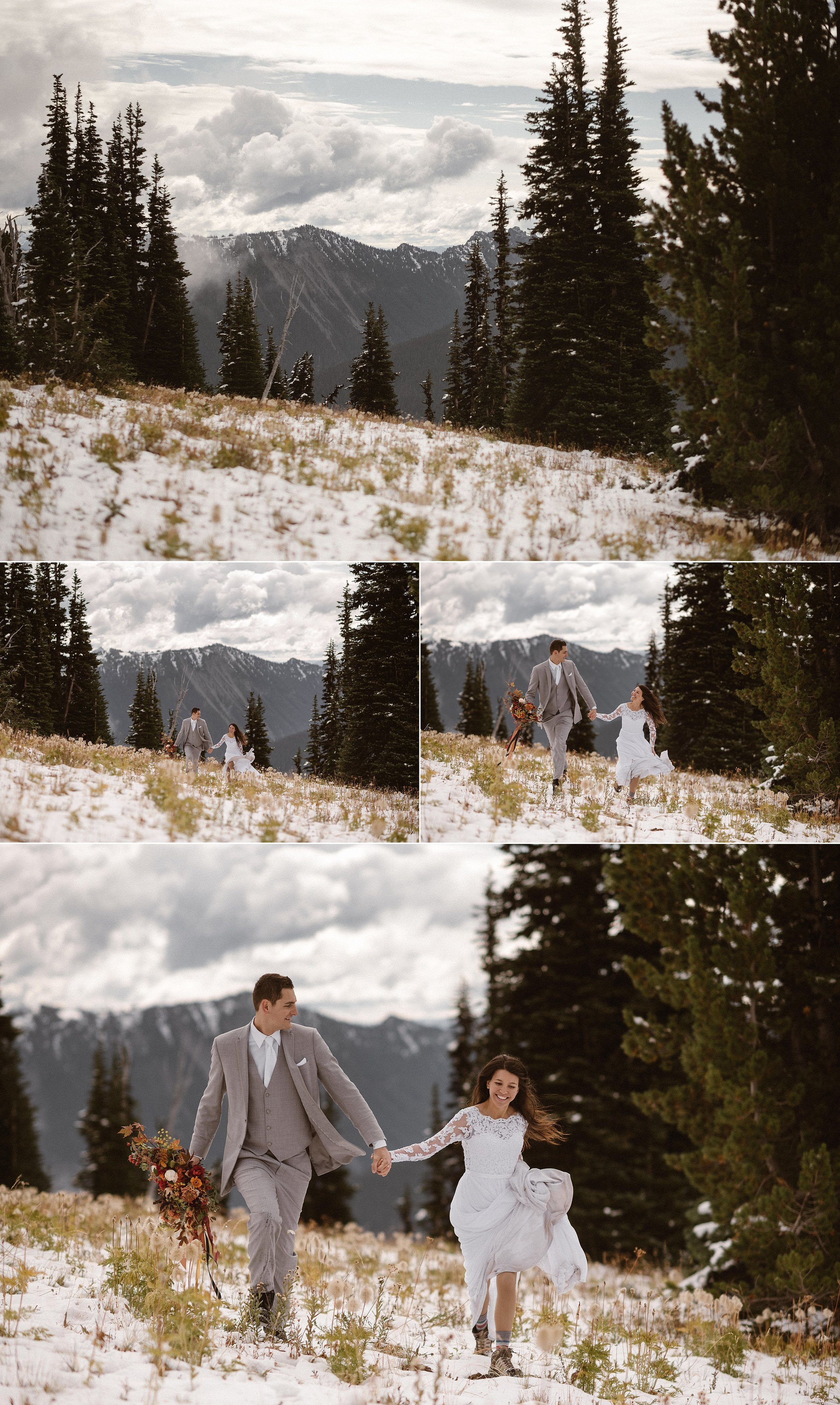 Resa and Grant were all smiles as they hiked through the snow on their intimate elopement day at Mount Rainier National Park. Although their previous plans of eloping in other locations around Washington state were foiled by weather and natural disaster, this adventurous couple took it in stride and found the most perfect location in the forest to say their vows. Photos of this romantic elopement by traveling wedding photographer Maddie Mae.