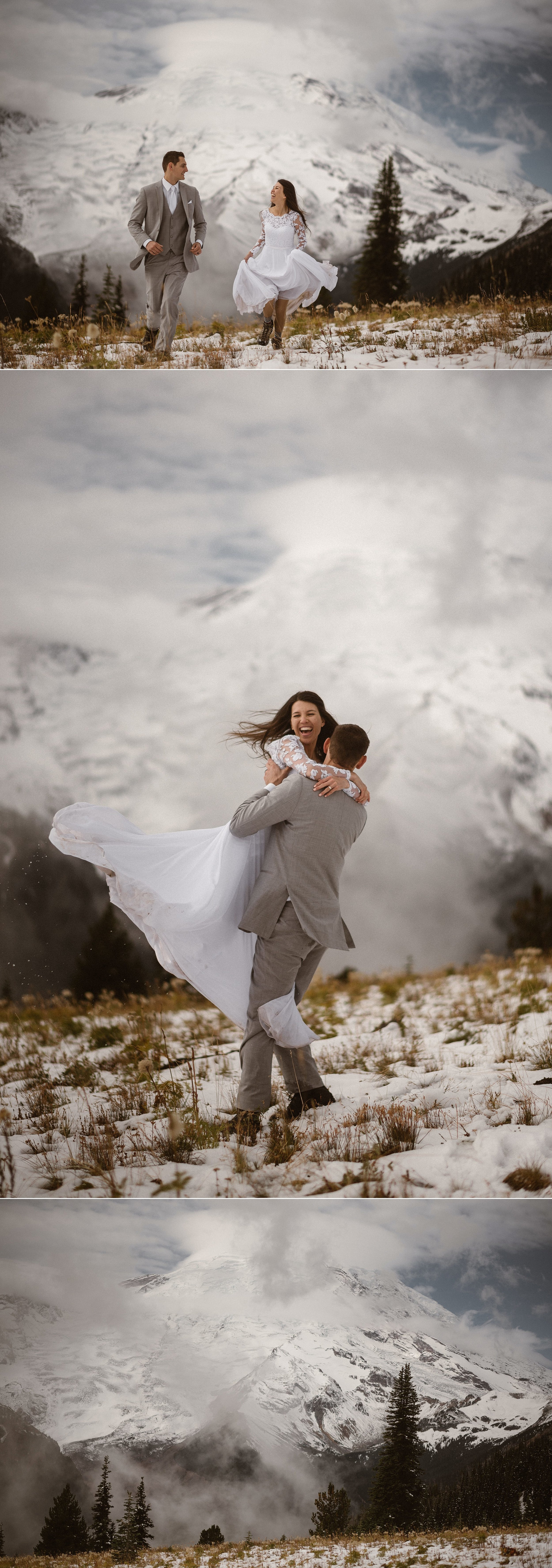 She jumped playfully into his arms one last time as the fog rolled in on the mountains of Mount Rainier National Park where they had just spent their elopement day in the forest and hiking through the snow with no one around but their intimate elopement photographer Maddie Mae.