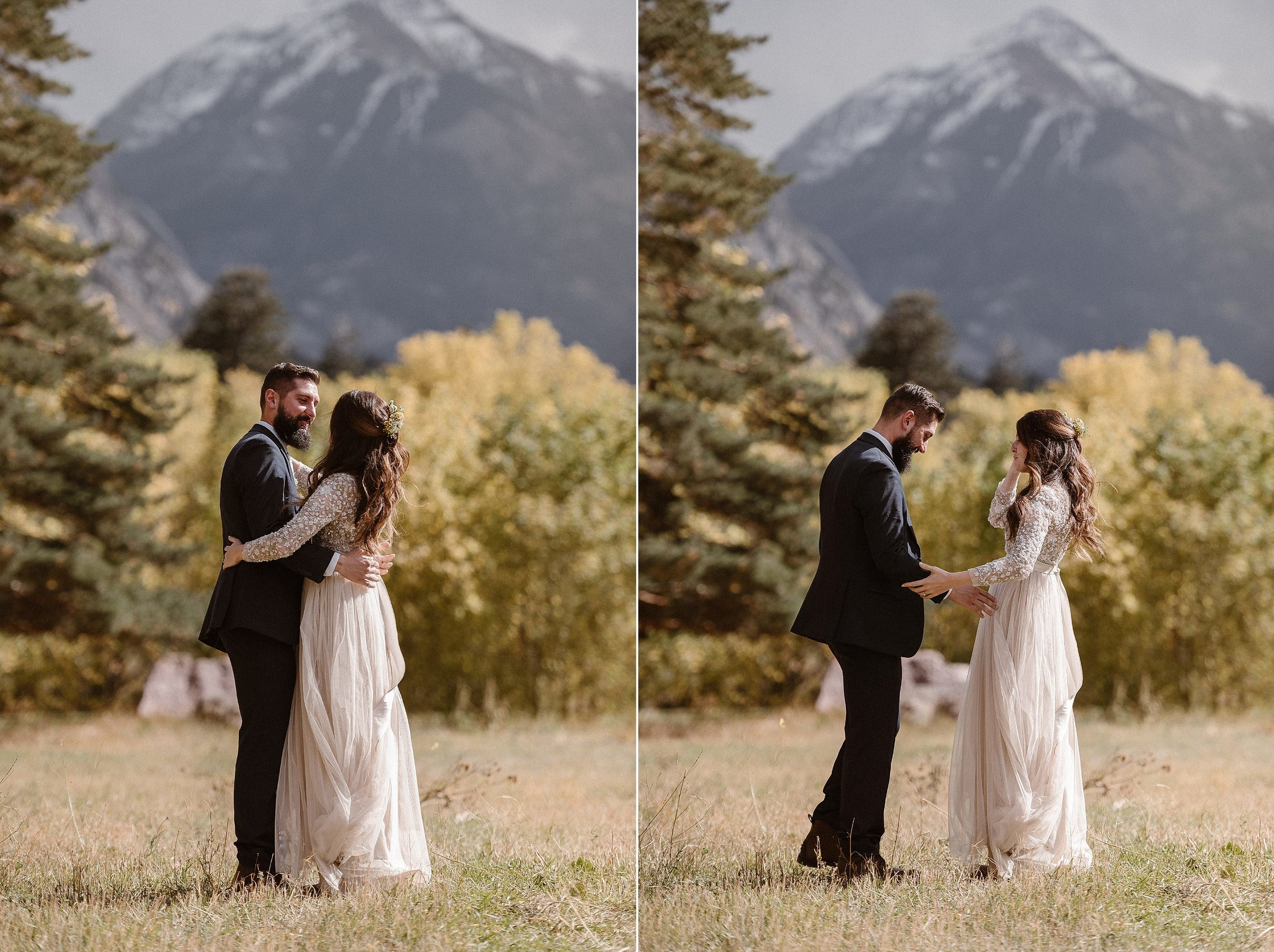 Taking a moment to bask in the mountain sunlight, Jen and Dan shared a private emotional moment before they headed for the adventure to begin a lifetime. This romantic Ouray elopement hiking through Yankee Boy Basin was photographed by traveling wedding photographer Maddie Mae.