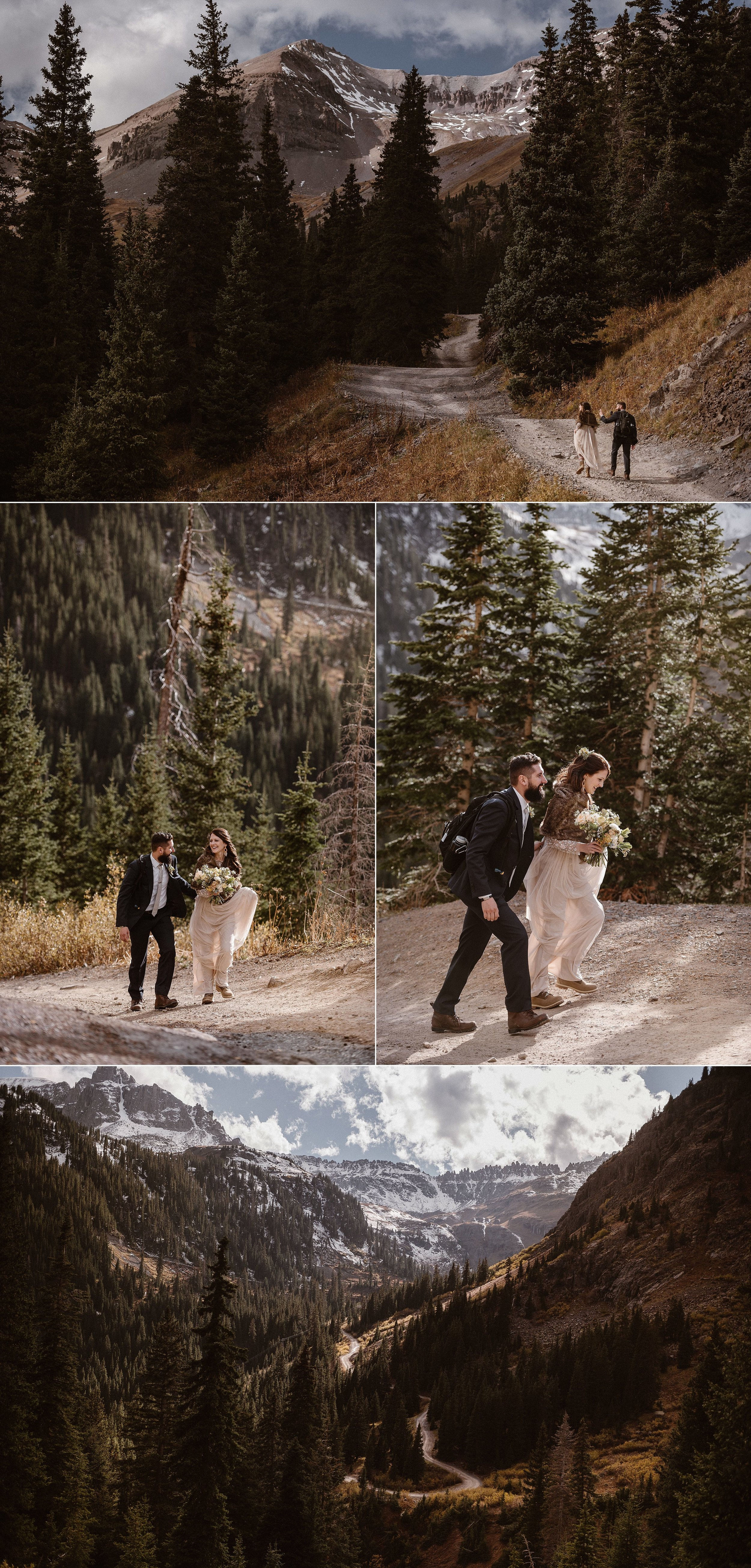 Tossing on a backpack of essentials, Dan and Jen began their hike up Yankee Boy Basin in Ouray Colorado for their epic elopement adventure with their intimate elopement photographer Maddie Mae. They chose to celebrate their nuptials non-traditionally with a private ceremony in the San Juan Mountains surrounded by the colors of autumn.