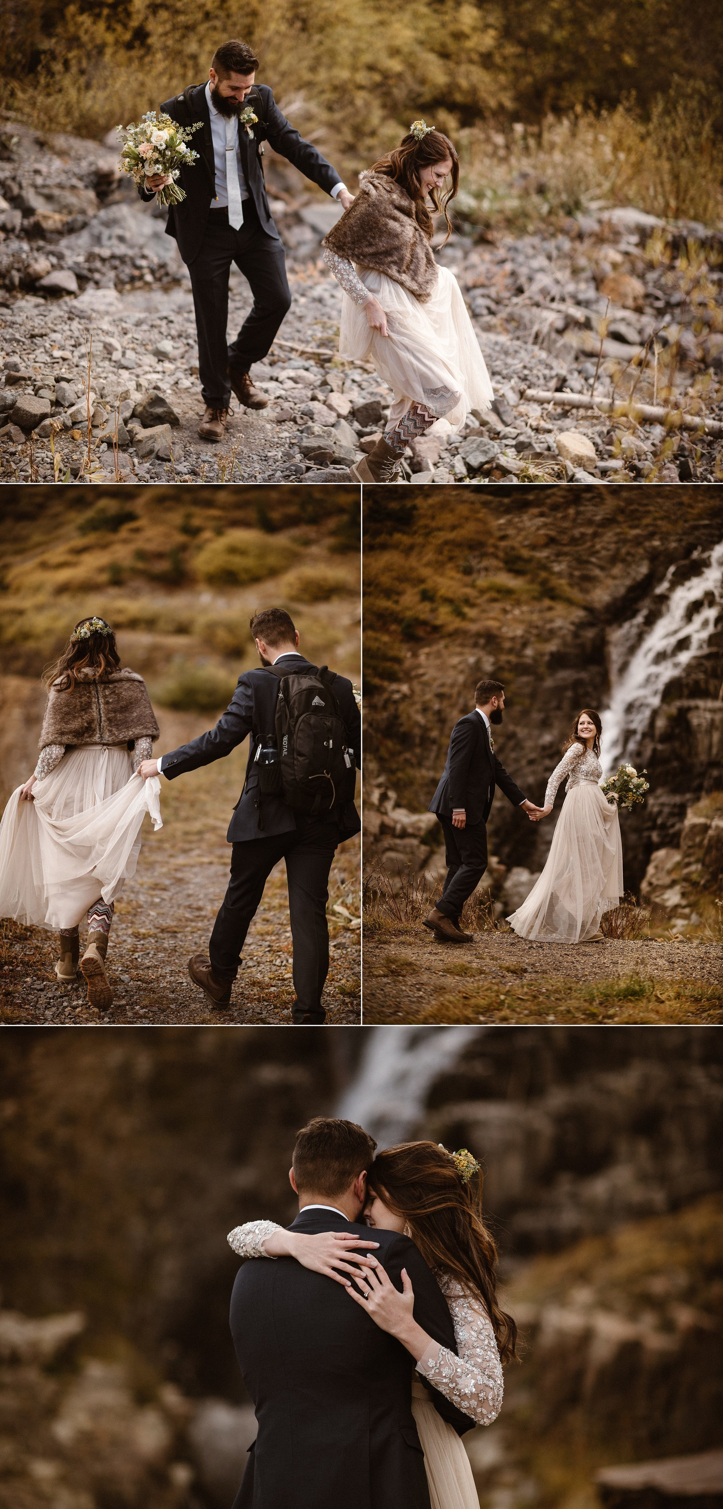 They trekked down rocky trails through Yankee Boy Basin with Ouray below them, stopping next to a waterfall that would soon be frozen with winter. These romantic adventurers took their elopement to the San Juan Mountains with their traveling elopement photographer Maddie Mae so they could say their vows privately among the colors of fall.