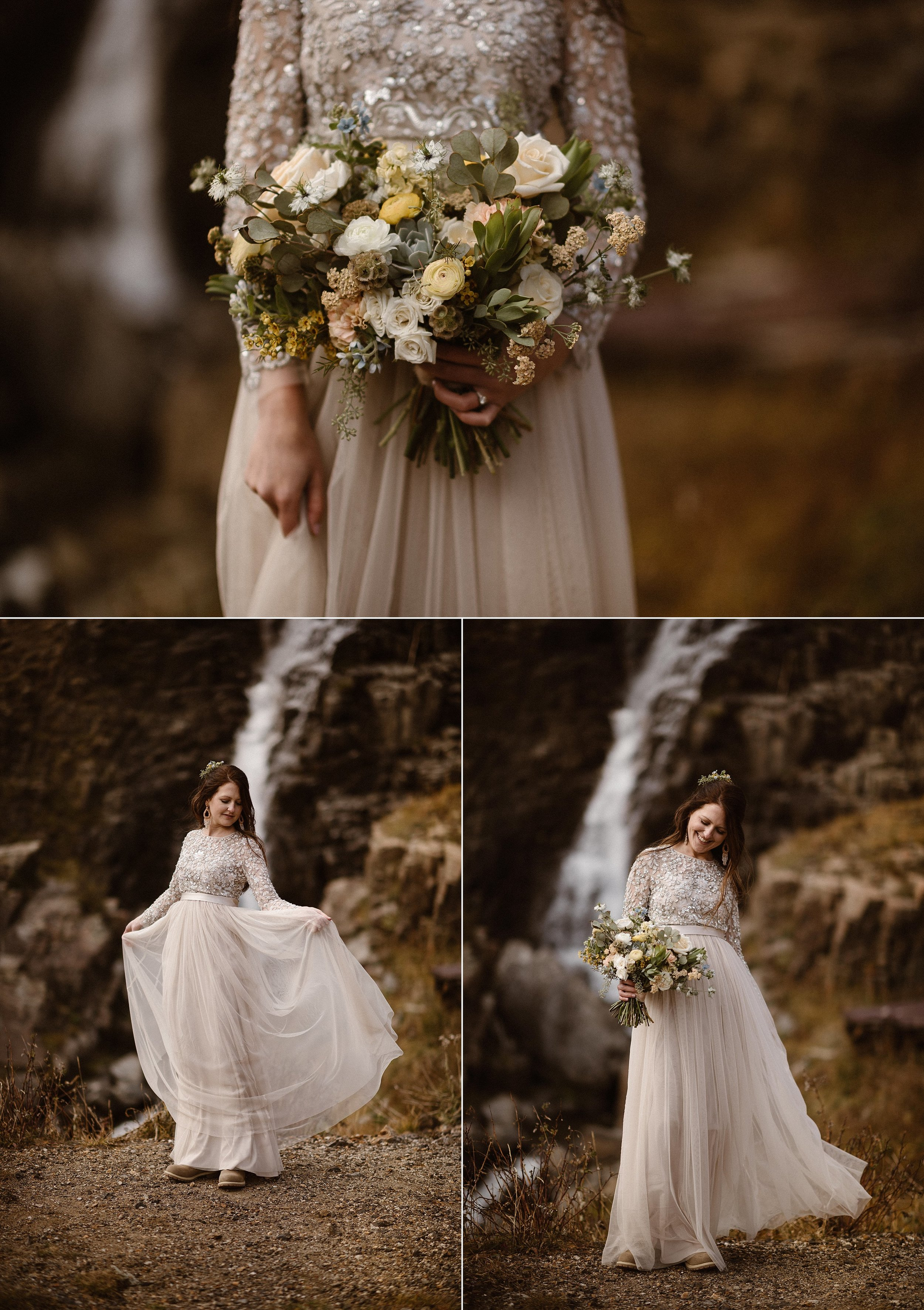 Keeping with her theme of throwing (most) tradition to the wind, Jen donned a champagne colored wedding dressed, the bodice riddled with jewels. She carried a neutral rose and greens bouquet that was the perfect contrast to the bright tones of autumn in Ouray, Colorado where she and Dan eloped. Photos of this stunning mountain bride by traveling elopement photographer Maddie Mae.