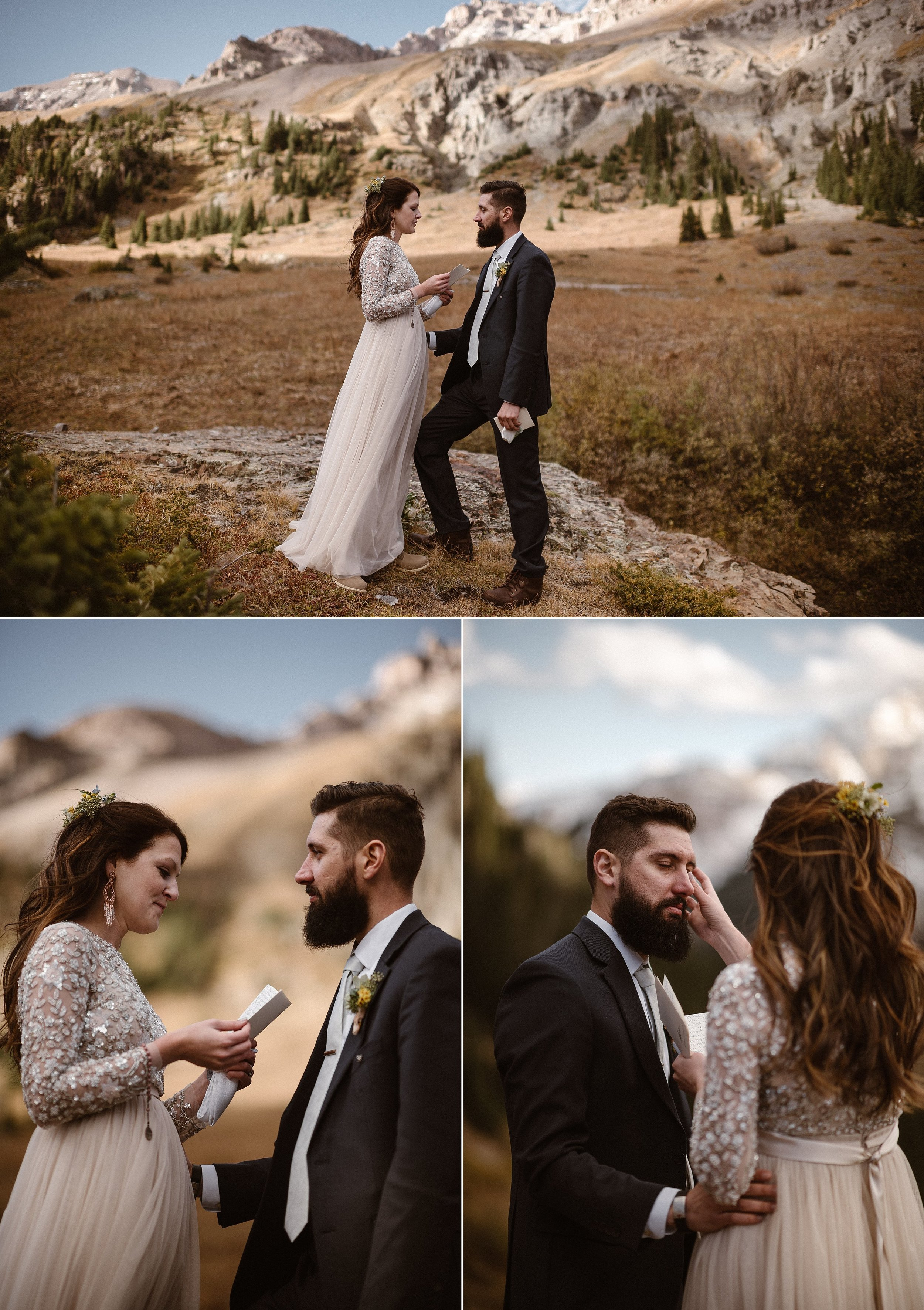 Jen wiped her groom's tears away as she finished her personal vows at their intimate elopement ceremony high above Ouray, Colorado in the San Juan Mountains. This romantic couple took off to the mountains with only their intimate elopement photographer Maddie Mae to celebrate their nuptials exactly how they wanted to, privately and with adventure.