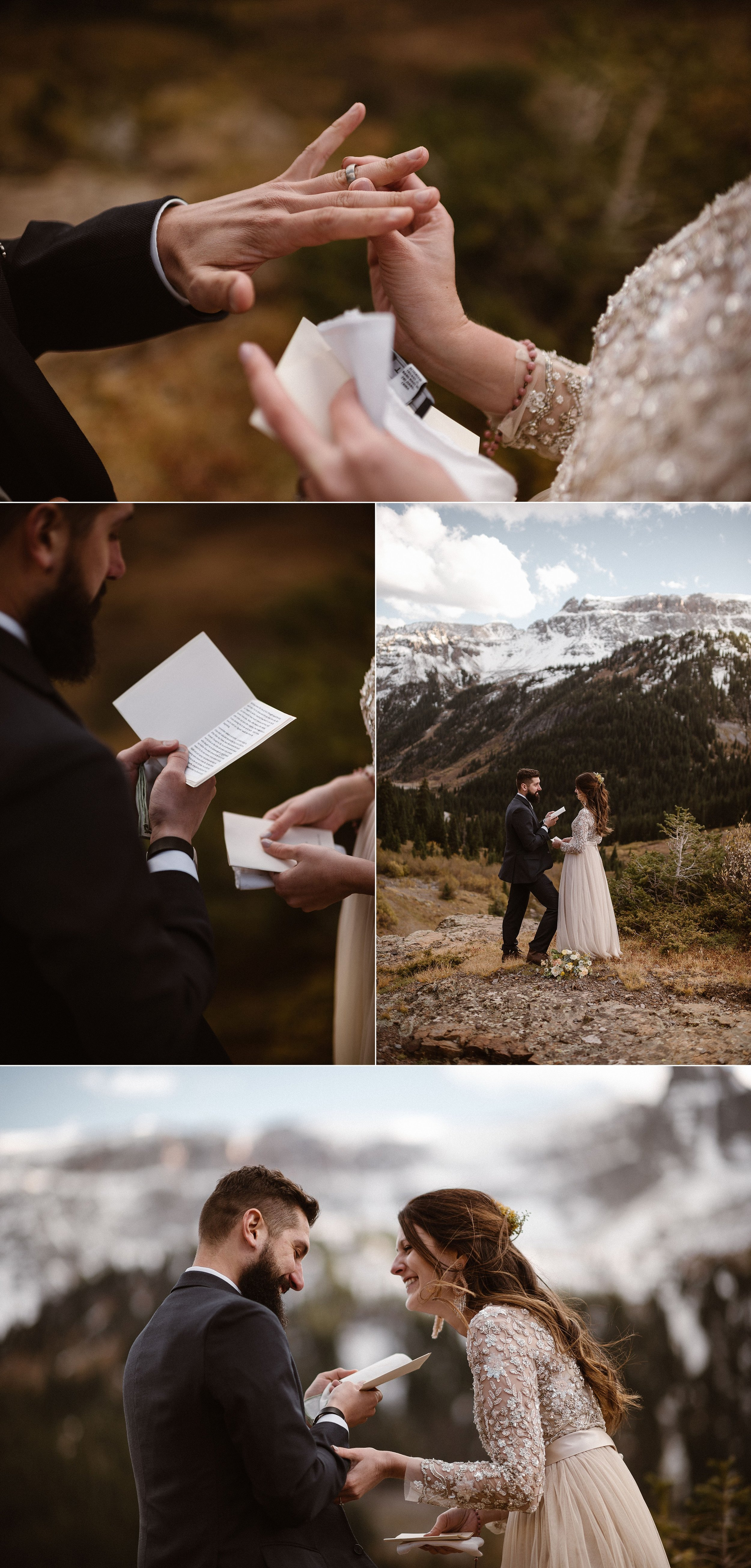 Sealing her words with a symbol of love, a solid white gold wedding band, Jen slipped her husband's new ring over his finger and he began his vows with a joke reminding Jen of the first thing she ever fell in love with - her husband's sense of humor. Photos of this romantic autumn elopement in Ouray, Colorado by intimate wedding photographer Maddie Mae.