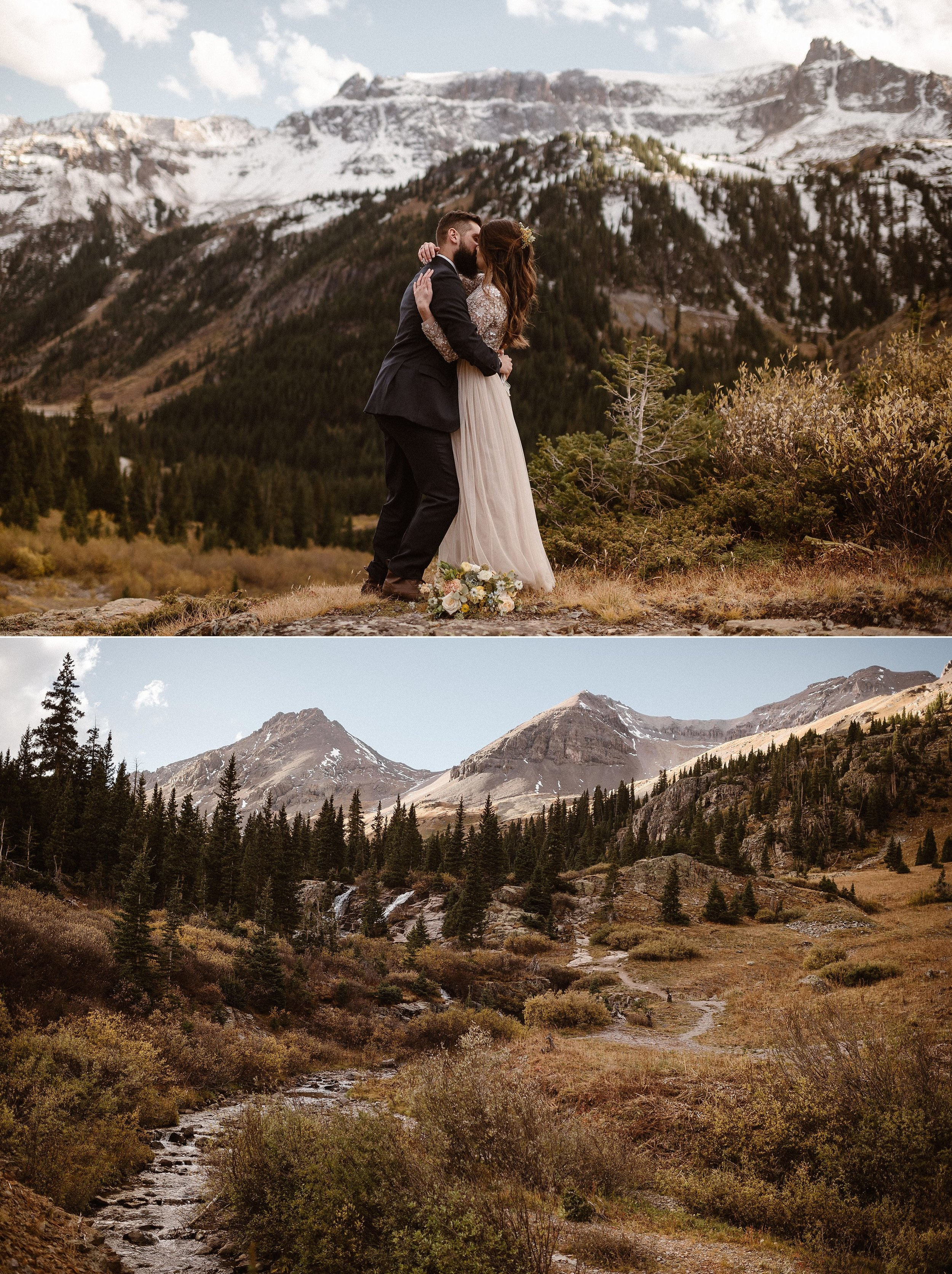 Sealed with a kiss high above Ouray in the San Juan Mountains, they were wed in a private elopement ceremony. Colorado's self solemnization laws making it one of the most romantic destinations to elope. This intimate hiking elopement through Yankee Boy Basin was photographed by traveling wedding photographer Maddie Mae.
