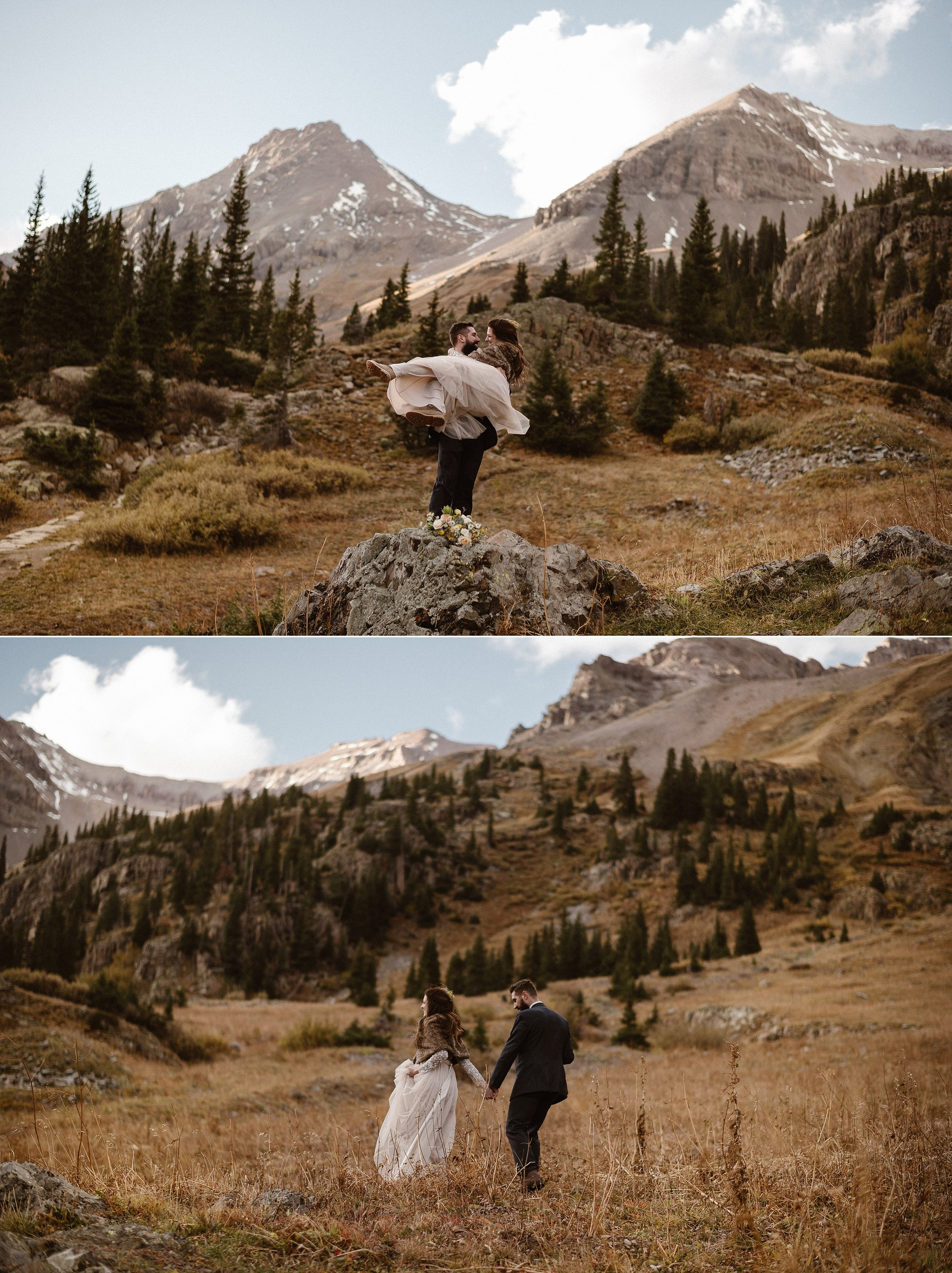 Filled with excitement and romance, Dan swooped his bride literally off her feet in as they stood atop a rock in Yankee Boy Basin. Surrounded by the tall meadow grass and the jagged San Juan Mountains, they had said their intimate elopement vows in private with only their traveling elopement photographer Maddie Mae around for miles.