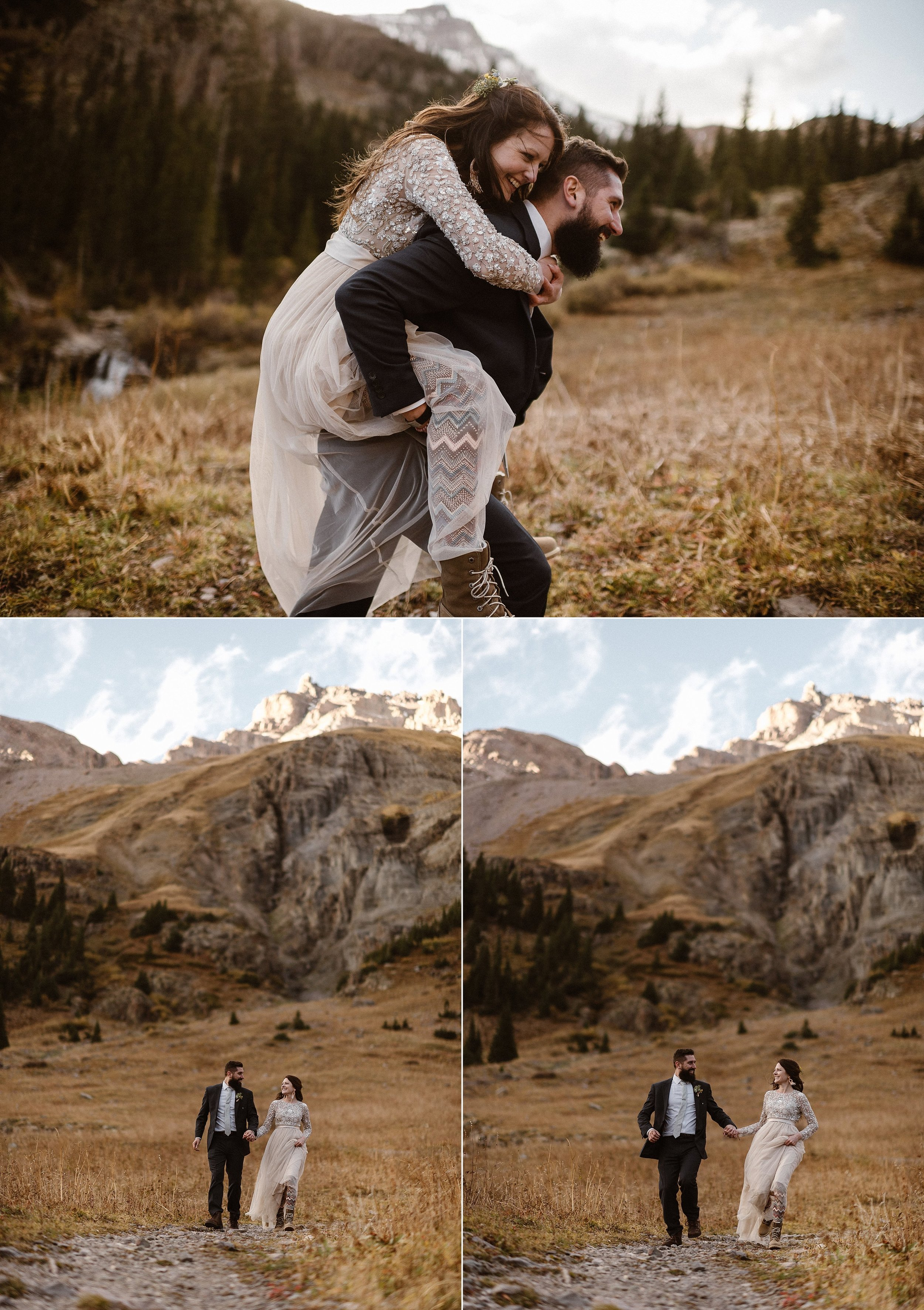 As Jen jumped on Dan's back, her patterned leggings peeked through the tulle of her beige wedding gown. This playful couple threw tradition to the wind and eloped in the mountains near Ouray, Colorado in Yankee Boy Basin with only their intimate traveling wedding photographer Maddie Mae.