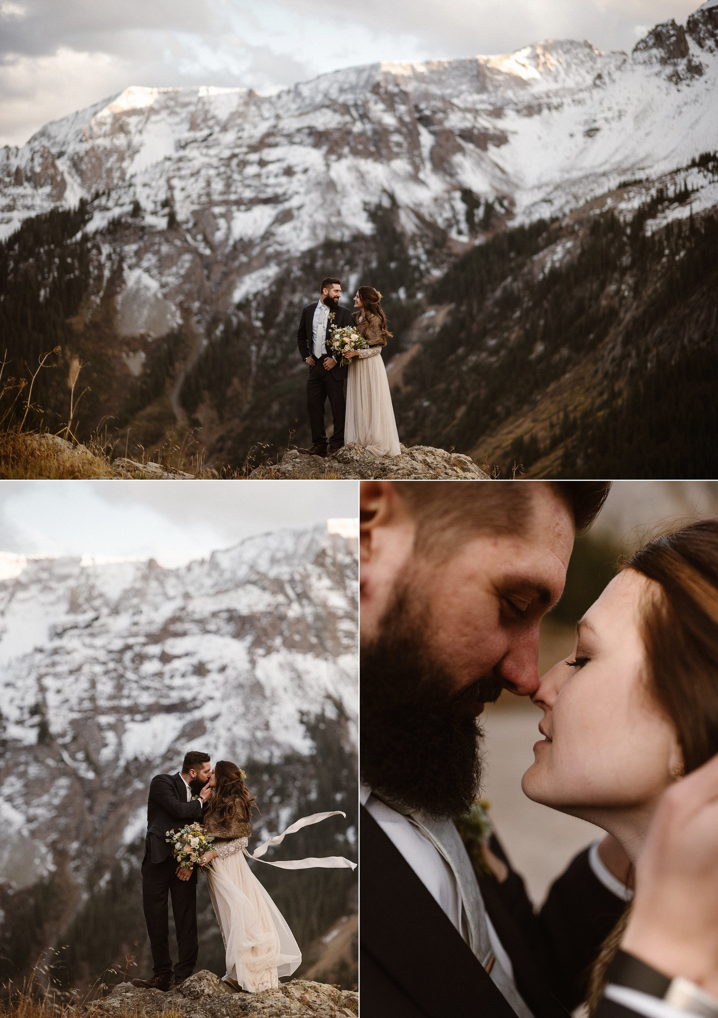 Stopping at one last rocky edge for a different view before they made their trek back down Yankee Boy Basin, Jen and Dan embraced in the high alpine winds, smiling and almost glowing with delight at their magical elopement day hiking through the mountains near Ouray, Colorado with their traveling wedding photographer Maddie Mae.