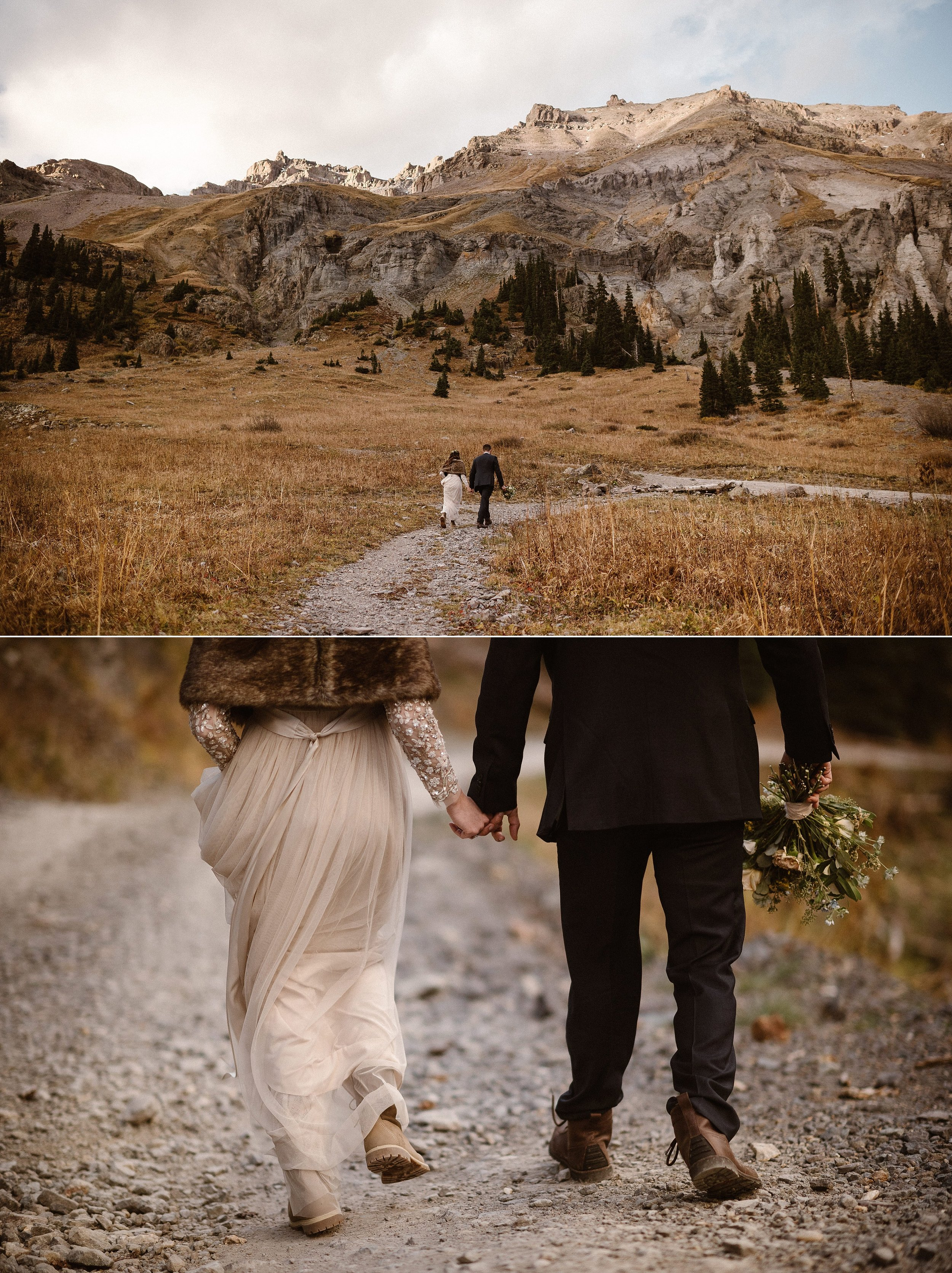 The sun lit up the autumn golds and yellows of the mountains near Ouray, Colorado where Jen and Dan said their vows in private with only their intimate elopement photographer there to capture each emotional moment of their ceremony.