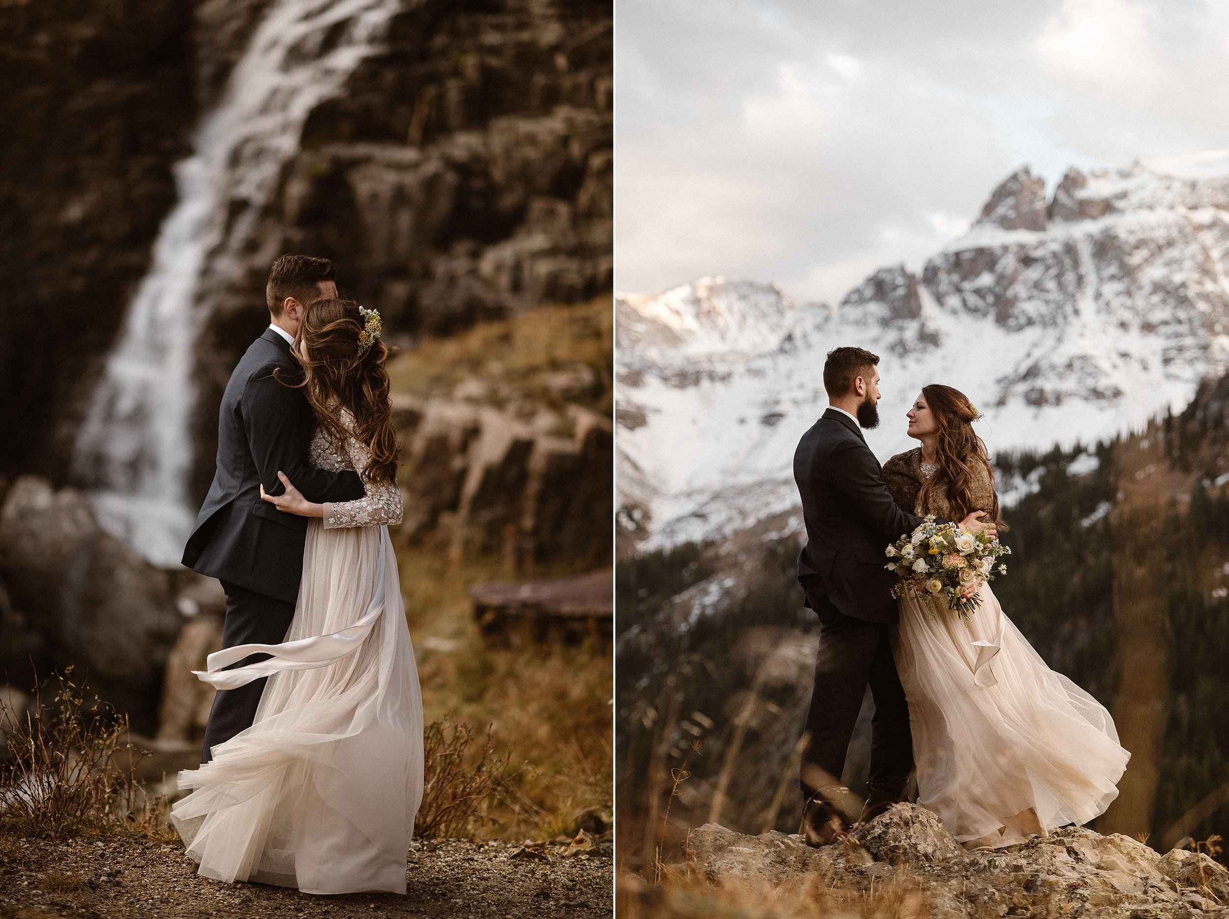 Pausing for one more embrace before they continued hiking on, the high alpine winds of the San Juan Mountains kicked up grabbing the tulle of Jen's dress sending it dancing behind her. She and her mountain loving groom eloped in Yankee Boy Basin with only their traveling elopement photographer Maddie Mae with them to capture each romantic moment.