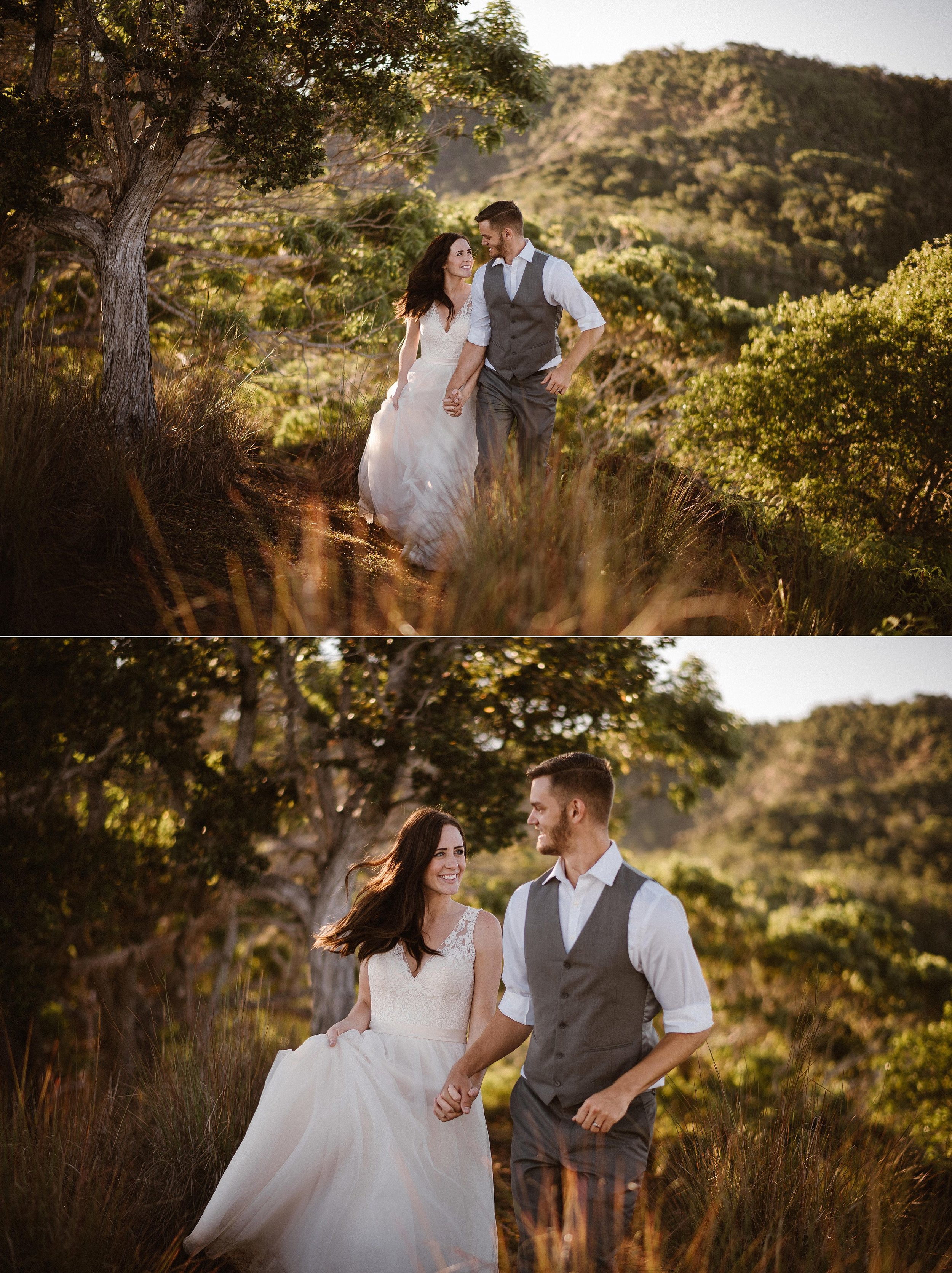 They found a clearing in the trees and suddenly felt like they were transported from their tropical destination elopement in Hawaii to another world of tall grasses and random twisted trees. They smiled affectionately at each other as their intimate elopement photographer Maddie Mae captured each romantic moment.