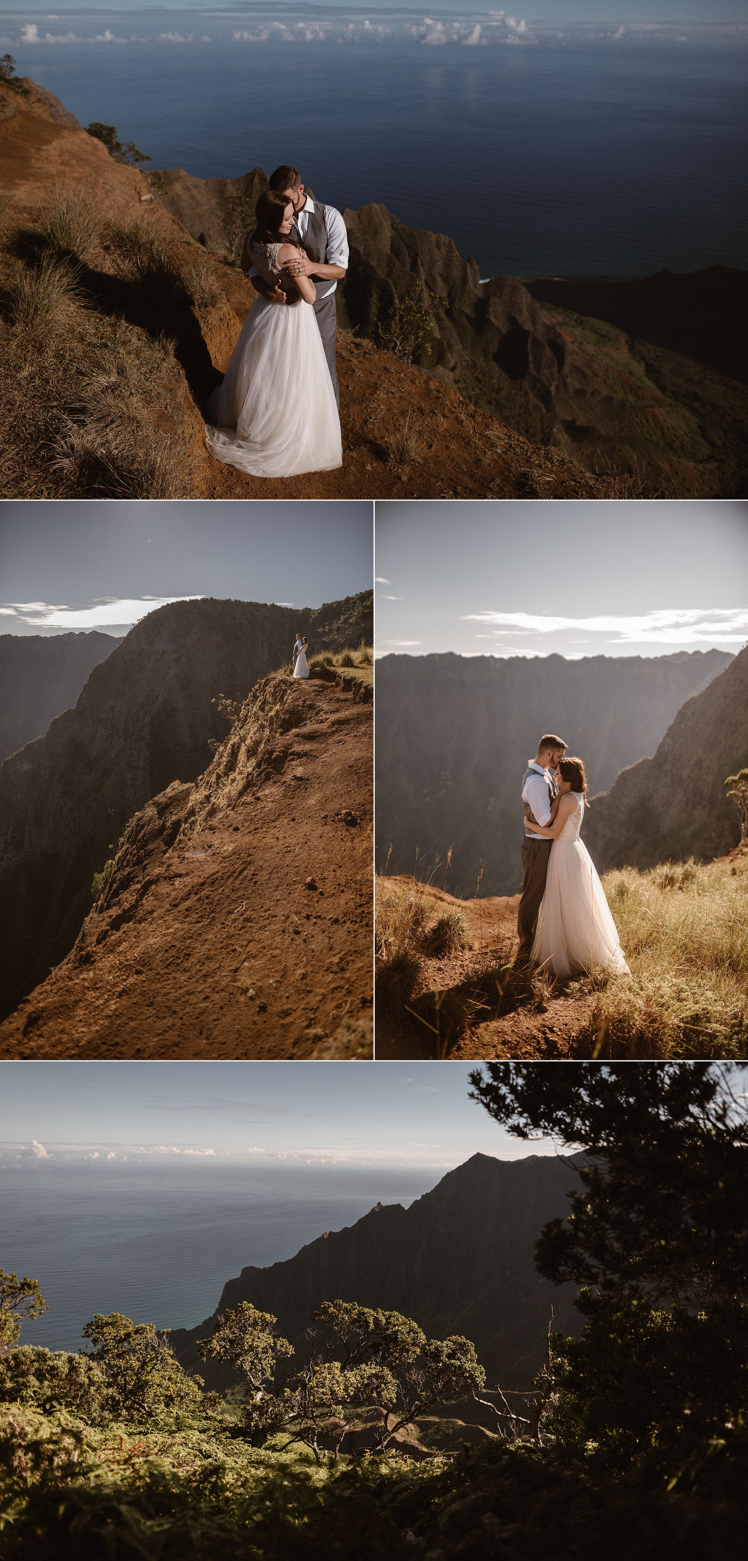 Among the warm Hawaiian sunlight and hight above the Kauai beaches along the Kalepa Ridge Trail Kourtney and Chris had found the perfect location for their intimate elopement. Their destination wedding was nothing traditional as they hiked in Kokee State Park for a private elopement ceremony with just their traveling wedding photographer Maddie Mae.