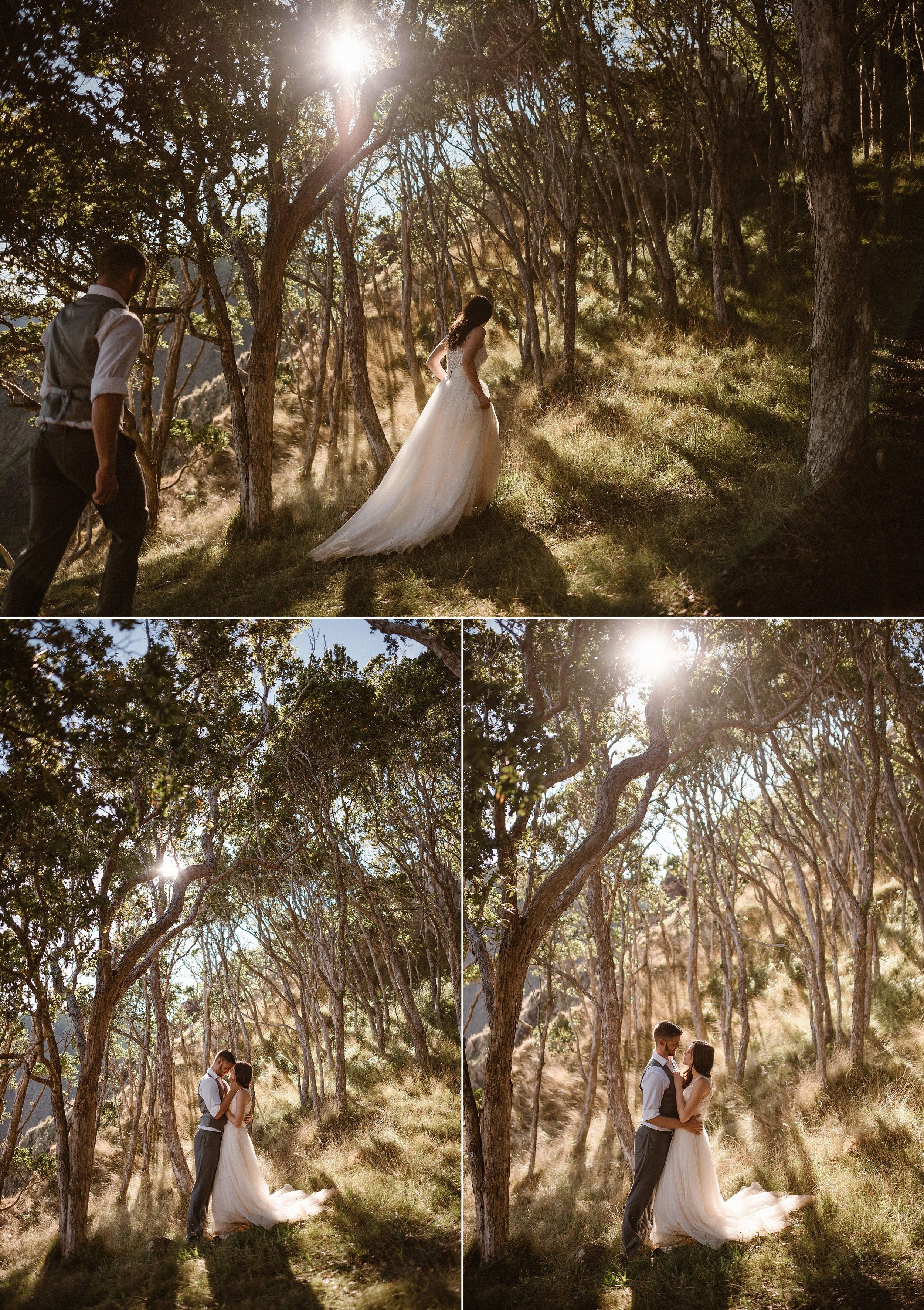 Taking a detour off the beaten path Kourtney and Chris shared an intimate moment among the spindly trees in Kokee State Park where they had just privately eloped high above the Kauai beaches, getting to see a part of Hawaii most people don't even know exists. Photos of this romantic adventure around Kalaulau Valley by traveling elopement photographer Maddie Mae.