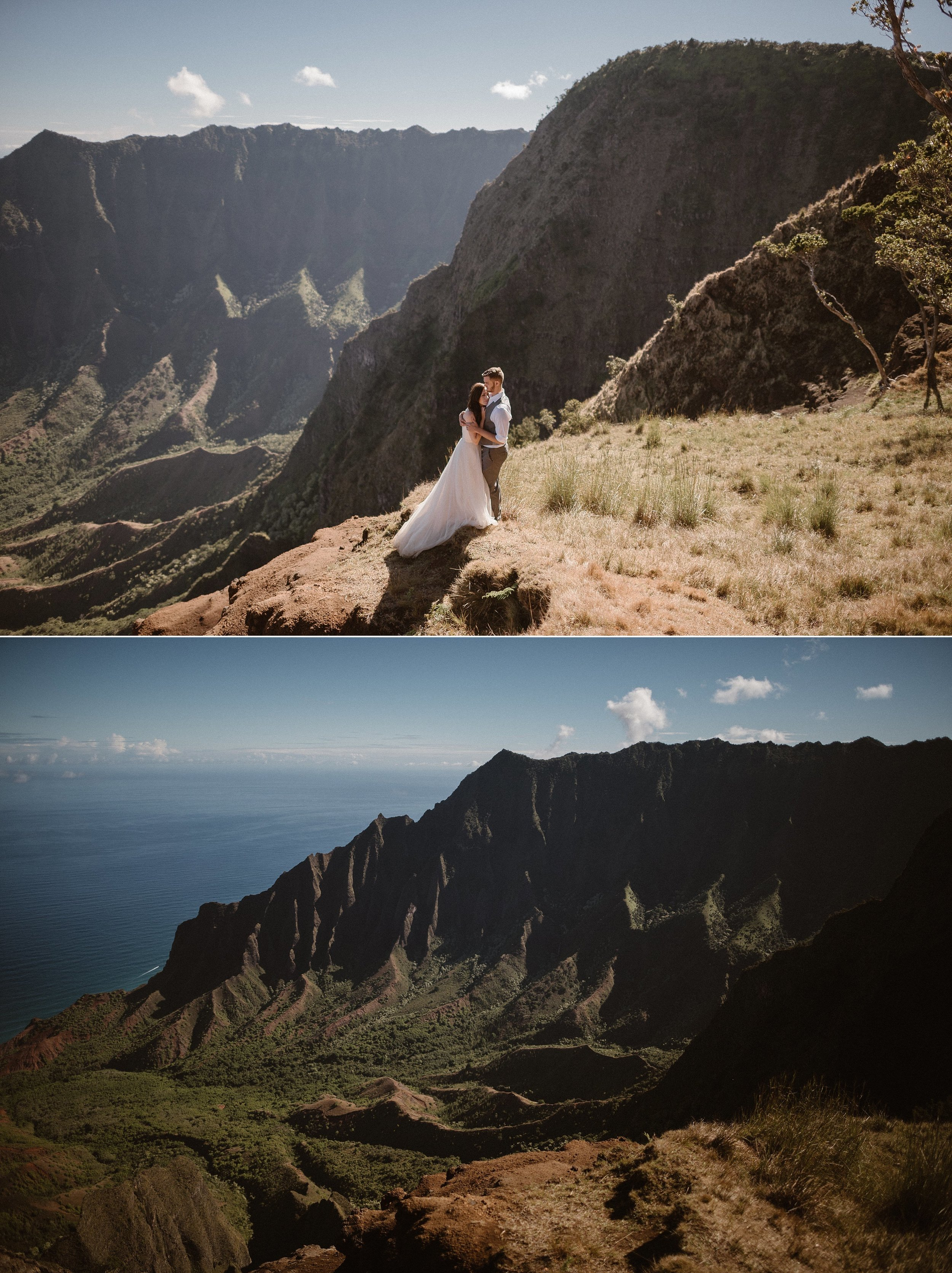 They wandered in and out of the trees to the cliff sides of Kalepa Ridge Trail on their intimate Hawaiian elopement adventure. Kourtney and Chris along with their traveling wedding photographer Maddie Mae, hiked in the warm Kauai sun through Kokee State Park for this romantic elopement.