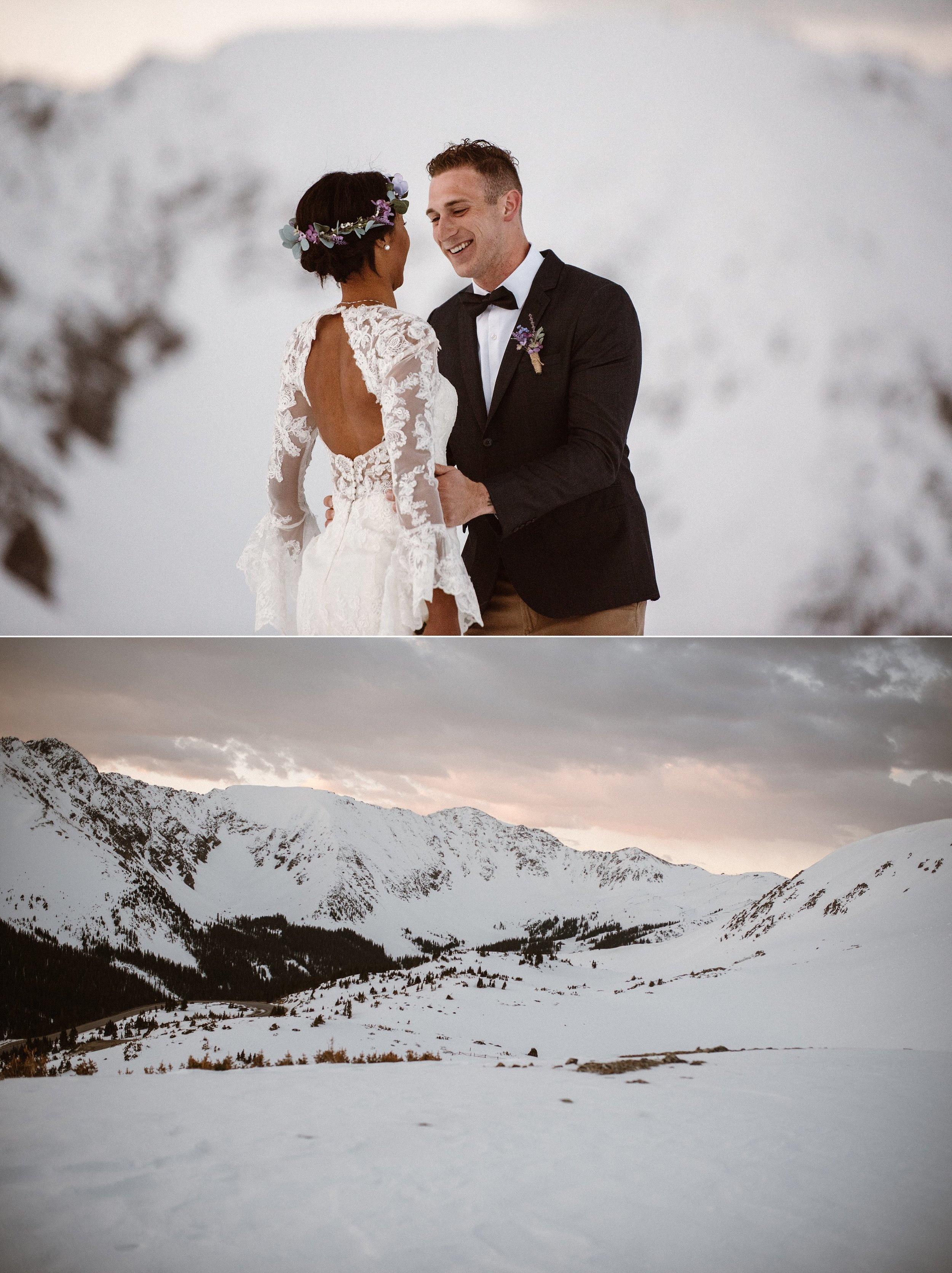 With a soft tap on his shoulder, these would be the moments they would remember forever, the few minutes before they became husband and wife. This snowy Loveland Pass elopement photographed by Colorado native, Maddie Mae.