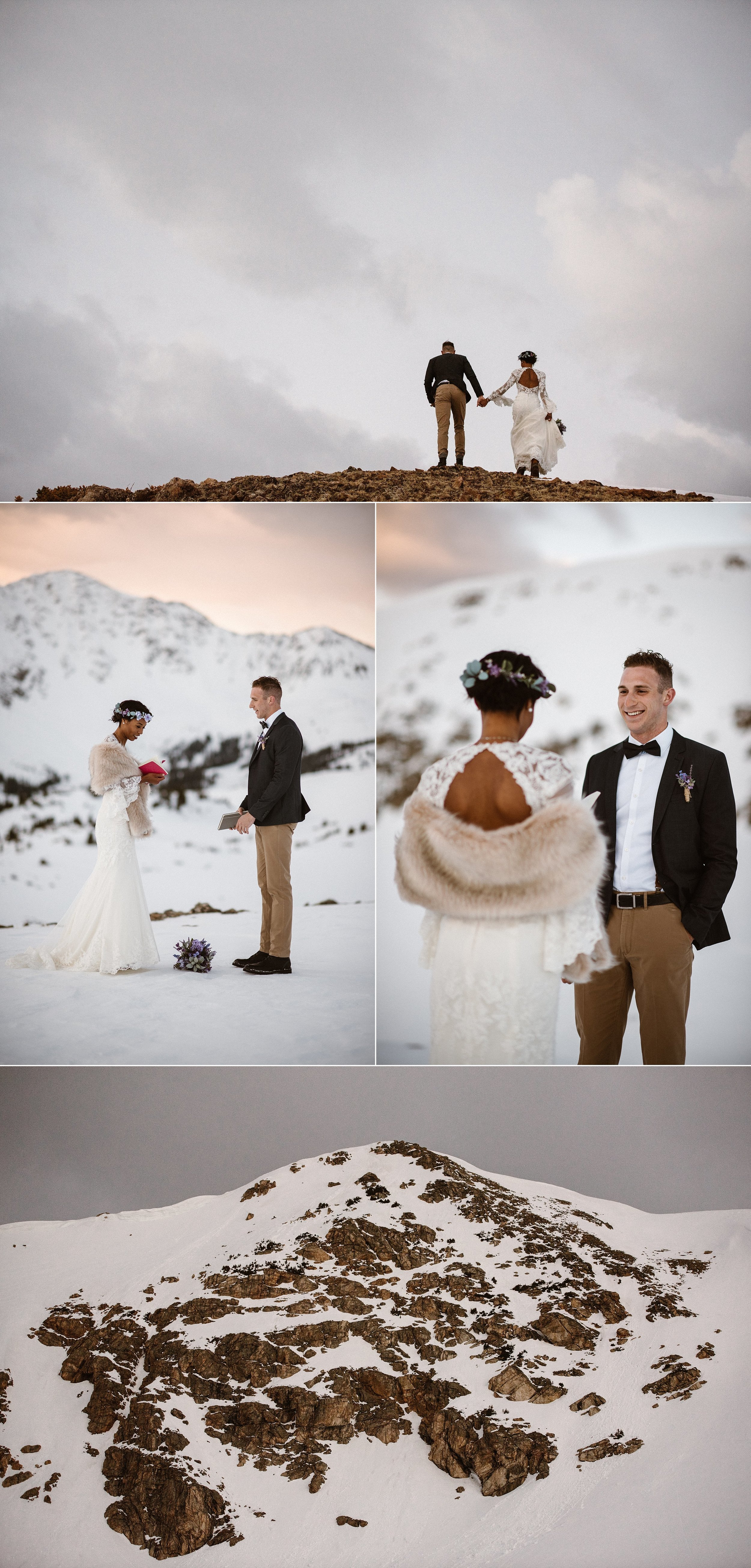 Wandering their way through the mountains Mikayla and Jared hunted for the perfect spot for their vows. Colorado is a self solemnizing state, allowing couples to marry themselves without an officiant. This intimate elopement captured by wedding photographer Maddie Mae.