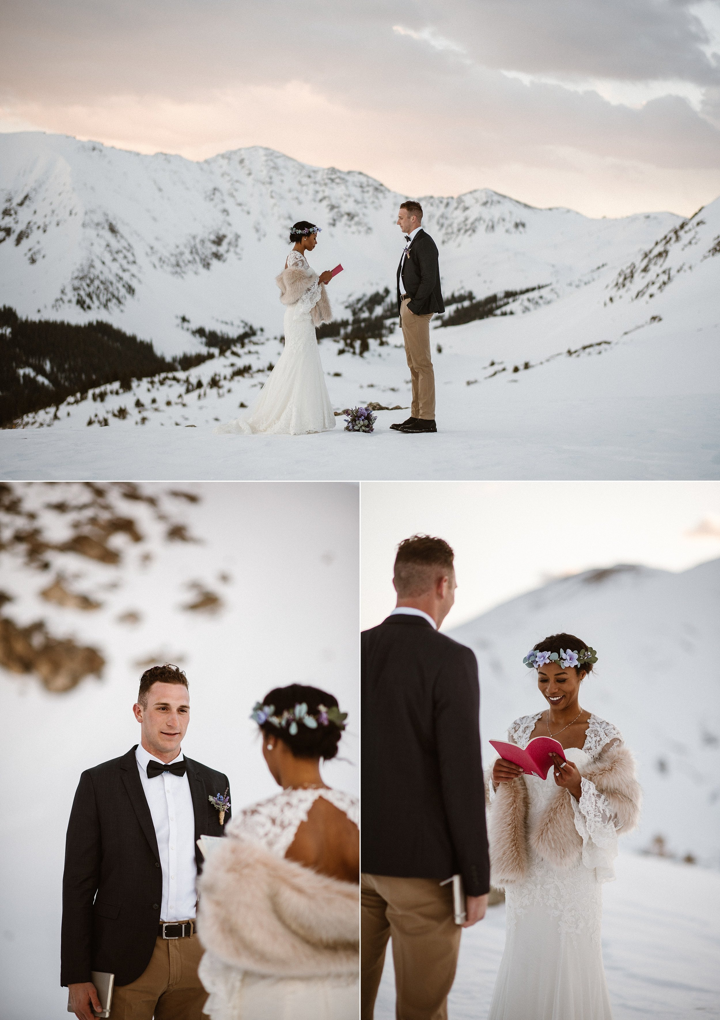 With pink sunrise skies and the cool white of the snow as their backdrop, Mikayla began her intimate wedding vows, personalized for Jared. Their snowy Loveland Pass elopement captured by their wedding photographer Maddie Mae.