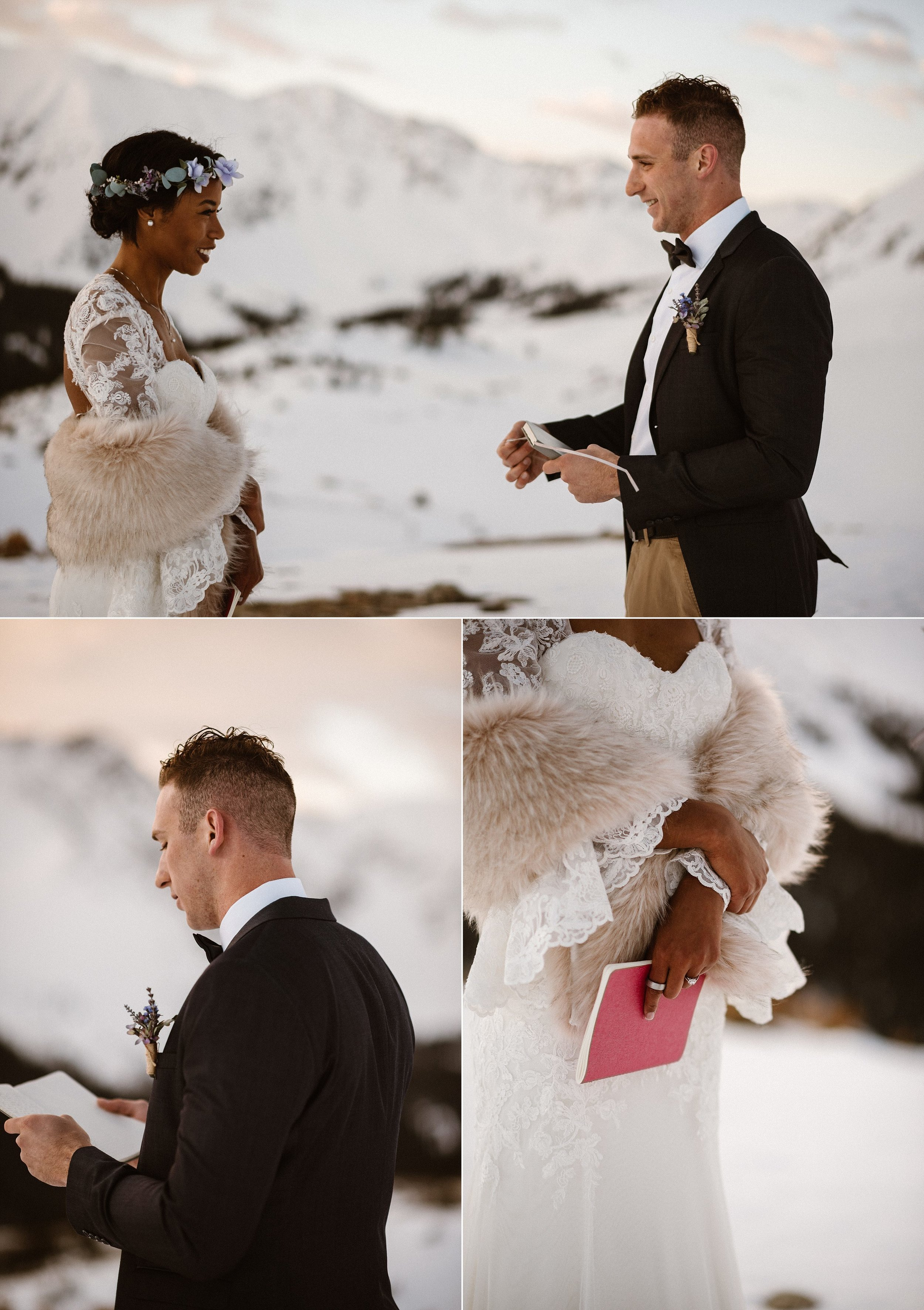 Jared looked fondly at his bride as she finished her intimate vows. With the alpine glow lighting Mikayla, Jared began his vows. With the self solemnization laws of Colorado, the only witness to their marriage was their intimate wedding photographer Maddie Mae.
