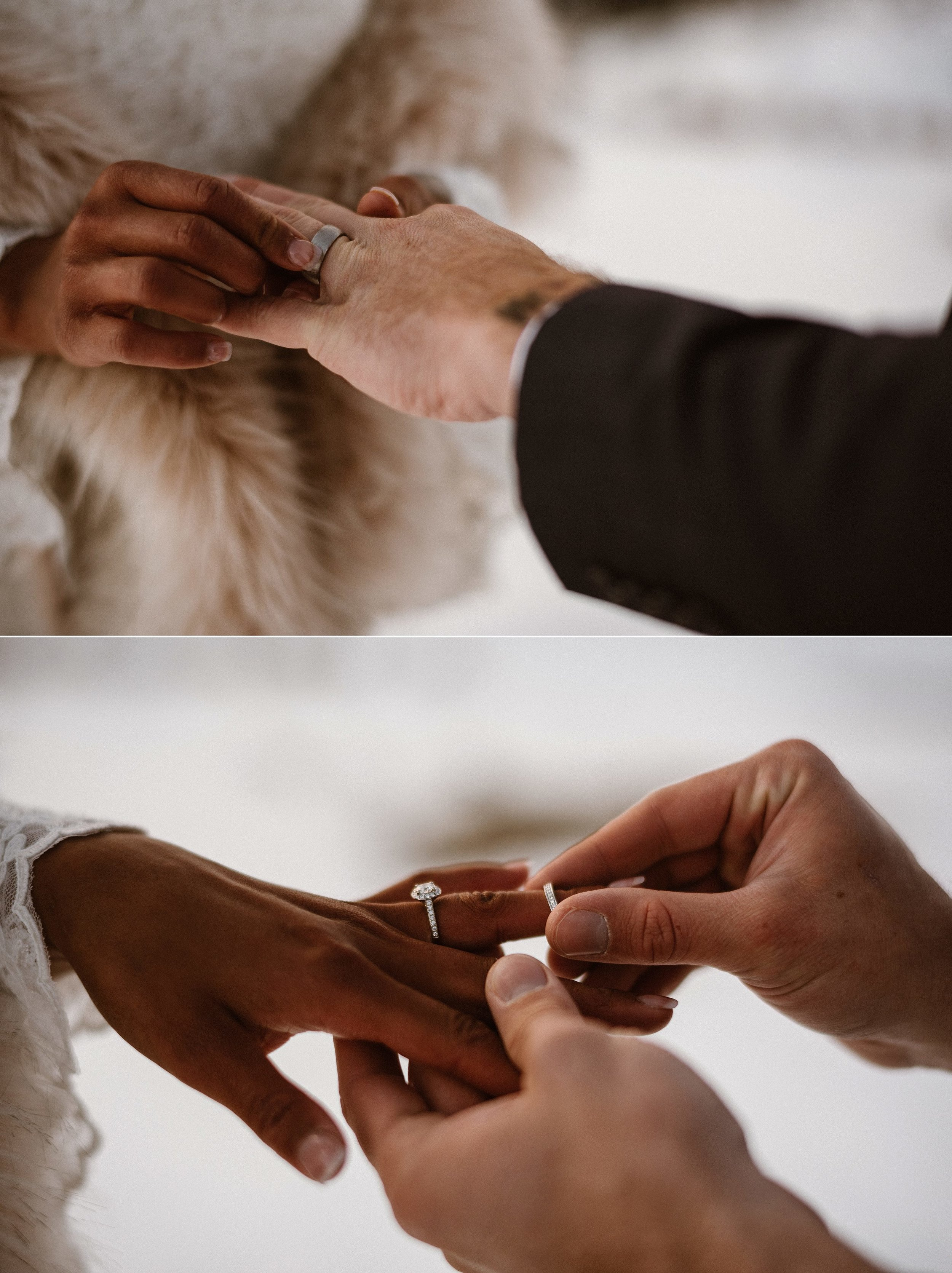 Exchanging their wedding rings as the sun creeped over Loveland Pass where they chose to throw out tradition and elope high in the mountains with just their traveling wedding photographer Maddie Mae there to capture every intimate moment.