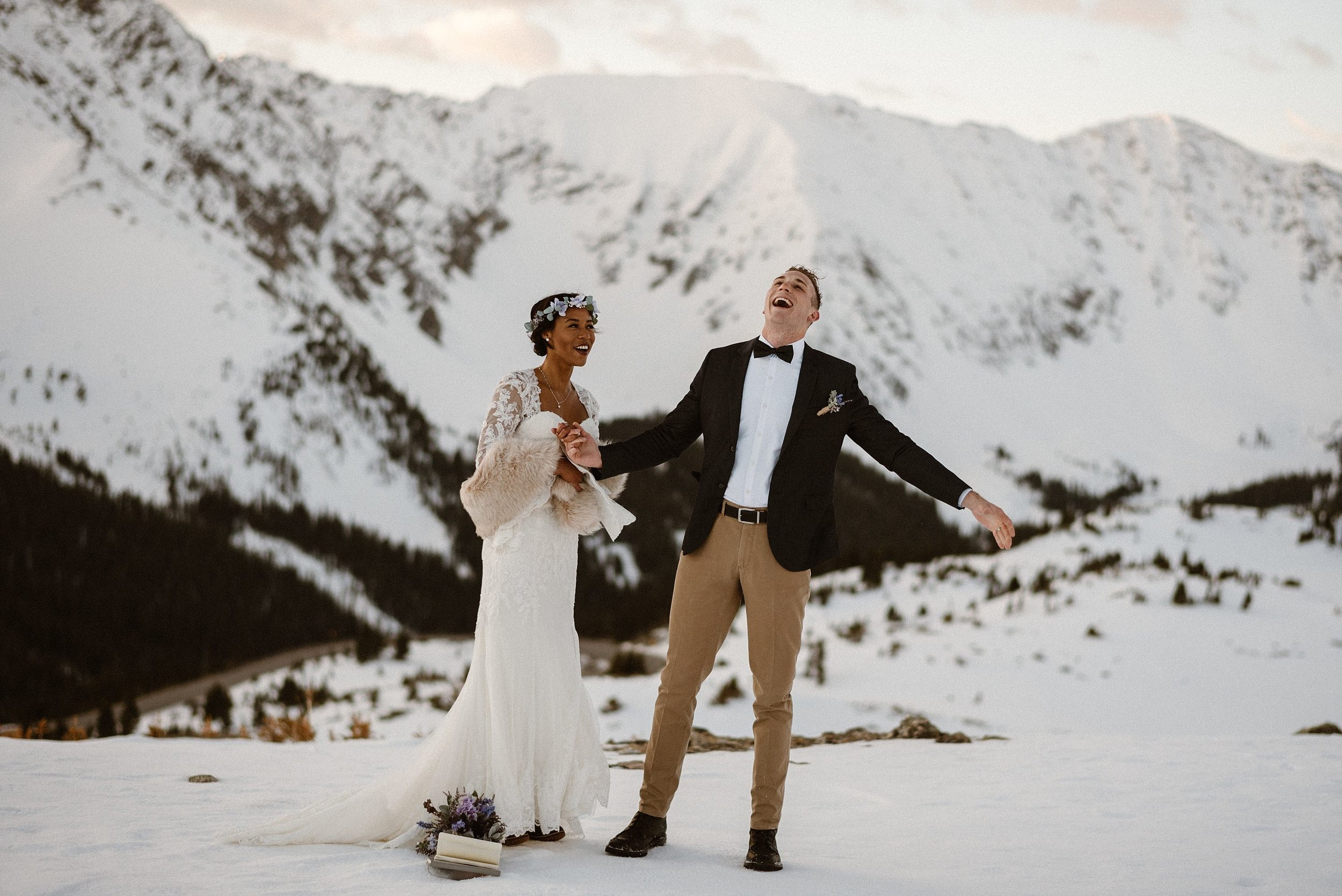 With no one around but their elopement photographer Maddie Mae, Jared let out an excited scream to the empty mountains. He and his stunning mountain bride Mikayla, chose self solemnization for their intimate elopement up Loveland Pass.