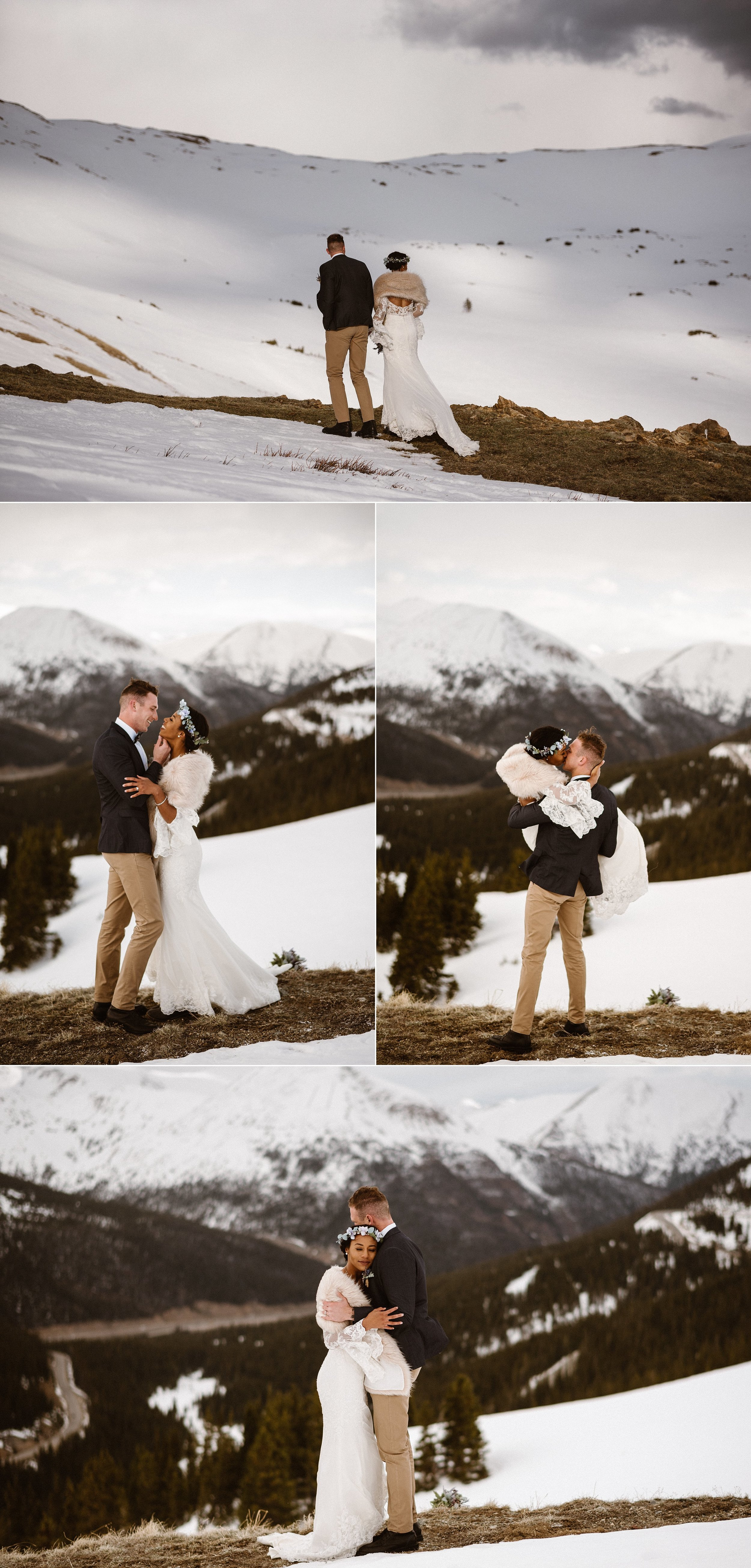 Bundling up in vintage fur Mikayla and Jared hiked up Loveland Pass into the snowy white hills to share a few moments alone just after their intimate elopement ceremony. Photos by adventure wedding photographer Maddie Mae.