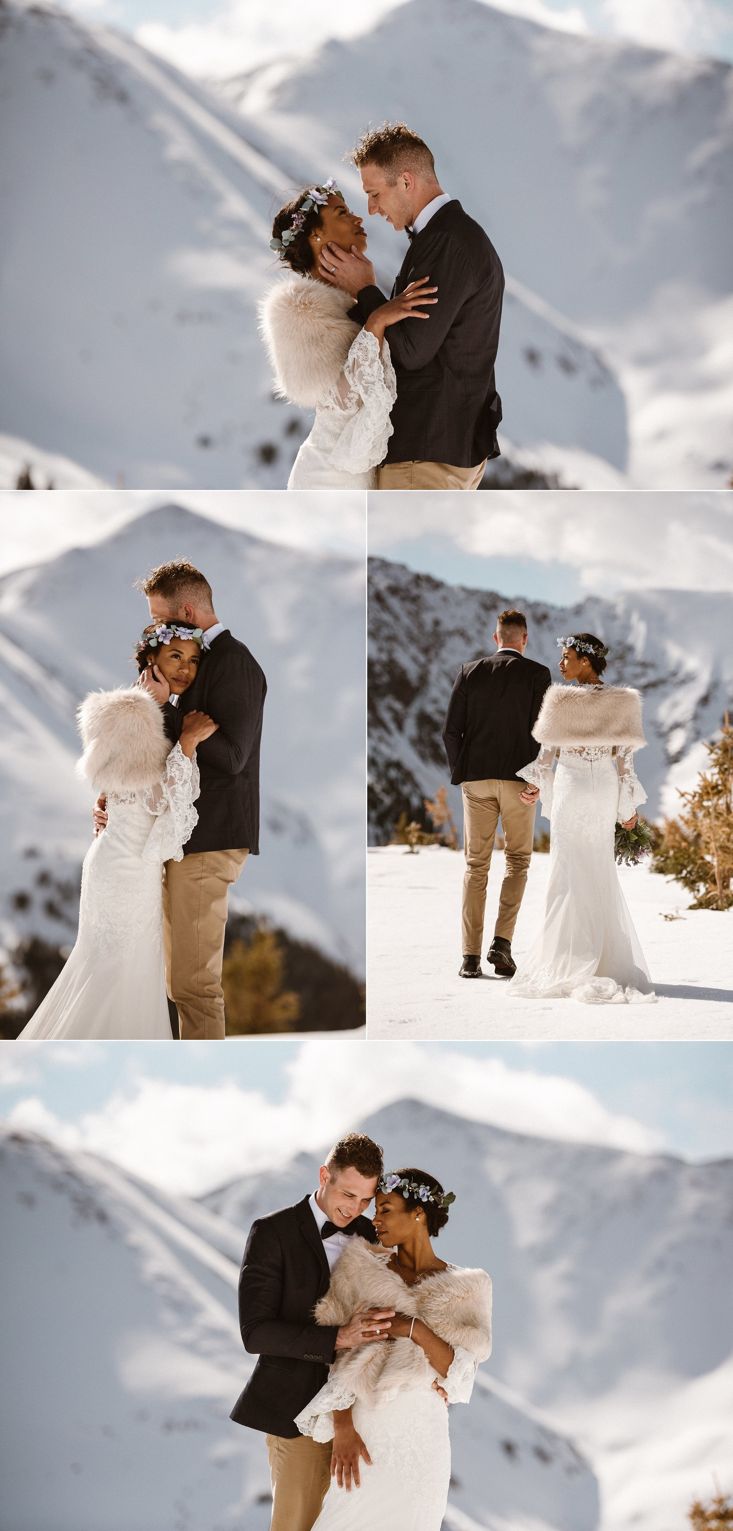 Trekking onwards to their next adventure destination, they looked back and smile on their perfectly private elopement ceremony location up Loveland Pass. This intimate mountain wedding captured by Maddie Mae Photography.