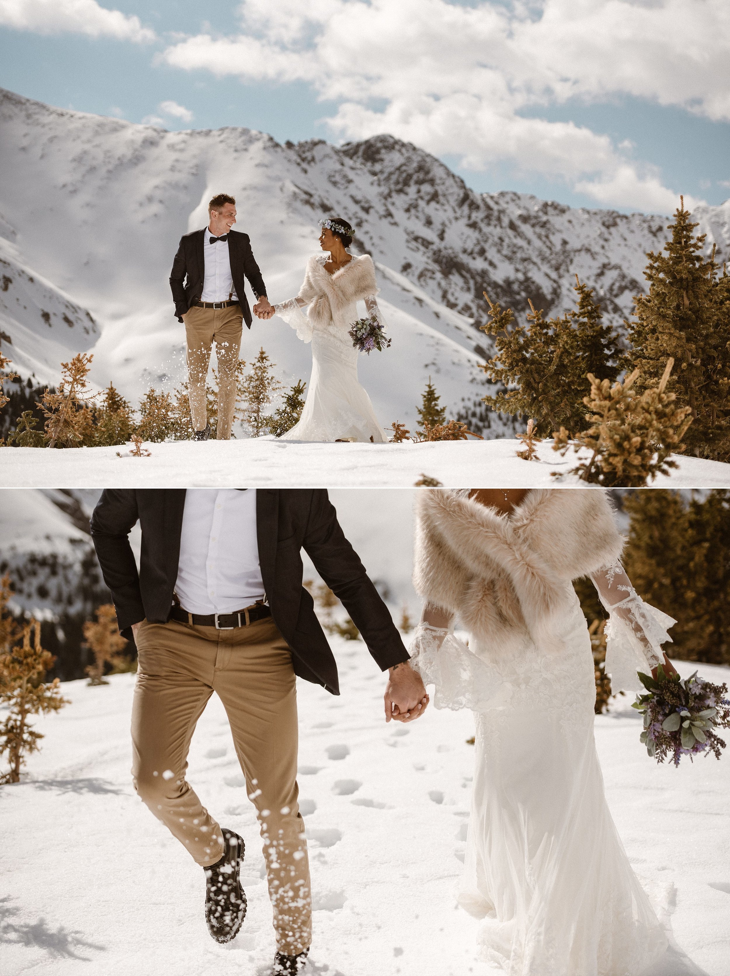 They sank into the snow as they made their way off the beaten trails of Loveland Pass on their adventurous elopement. This romantic couple took to the outdoors in the middle of winter to celebrate their private nuptials with an elopement in the Colorado mountains with only their intimate elopement photographer Maddie Mae as their witness.