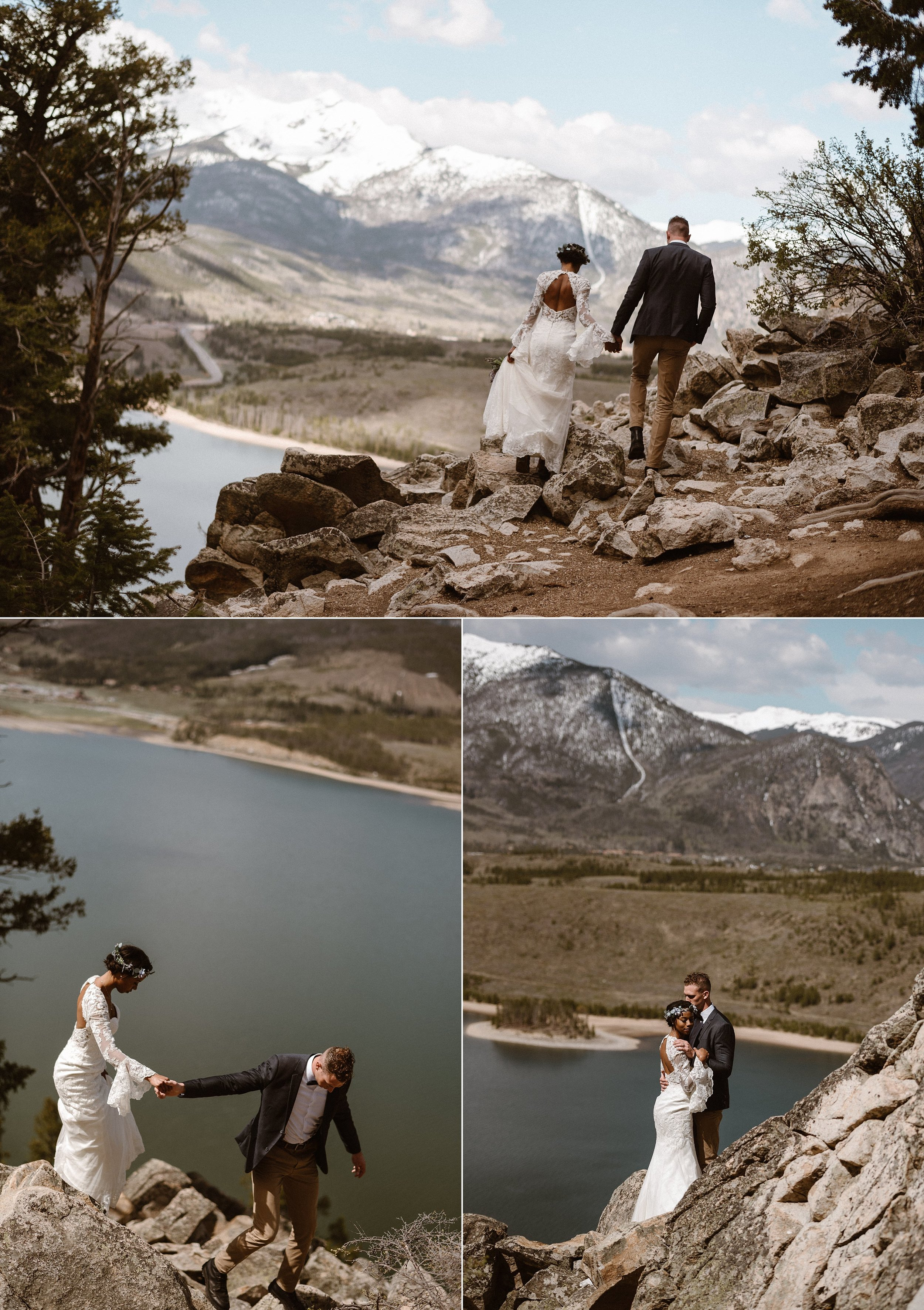 Continuing their adventurous elopement, Mikayla and Jared trekked even further trying to get as close to Dillon reservoir, just north of Breckinridge Colorado. Their intimate wedding photographer Maddie Mae, capturing each affectionate moment.