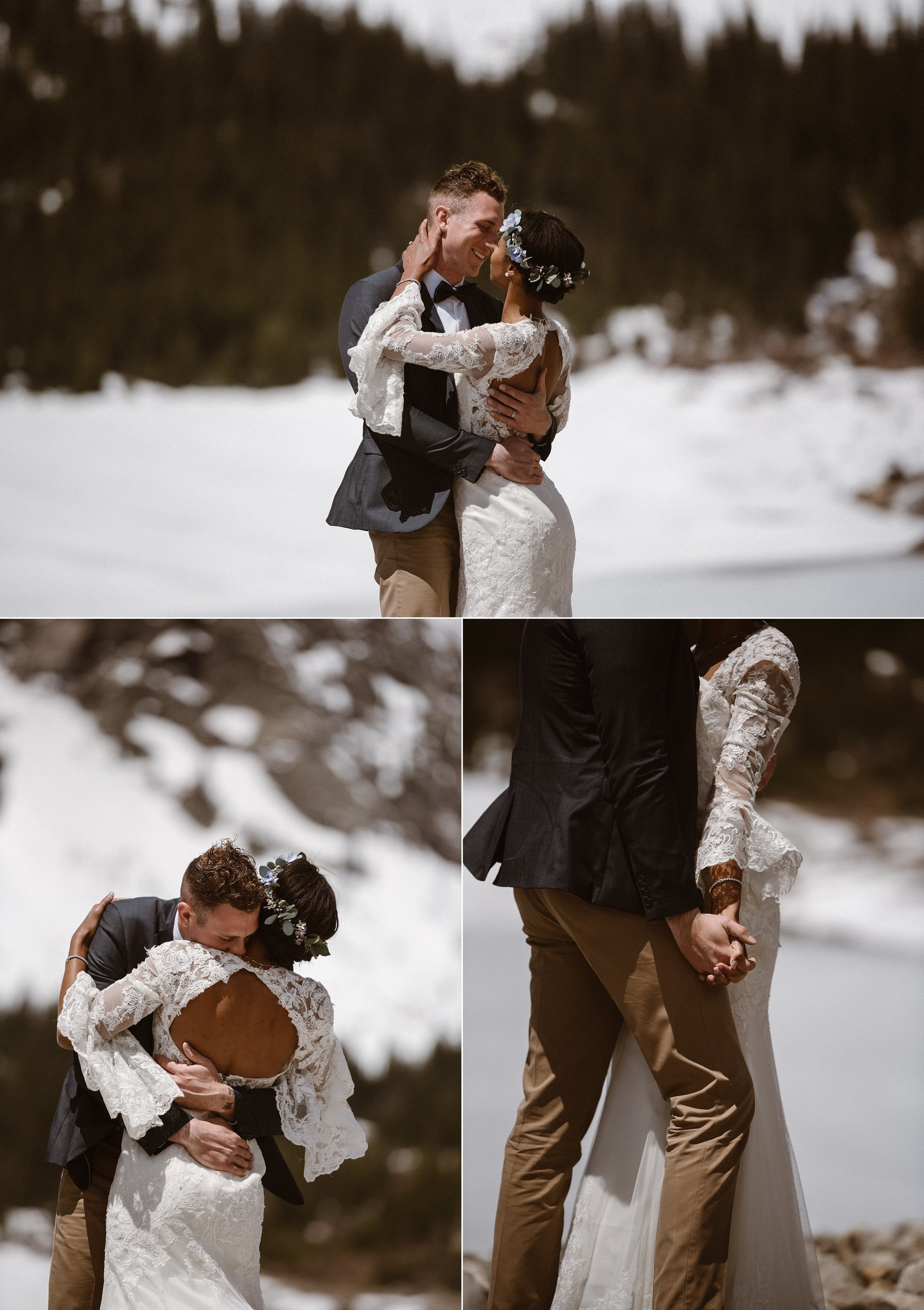 All the white from the snow and frozen Montgomery Reservoir, made Jared and Mikayla light up like vintage stars on a snowy stage. This stunning intimate elopement captured by adventure wedding photographer, Maddie Mae.
