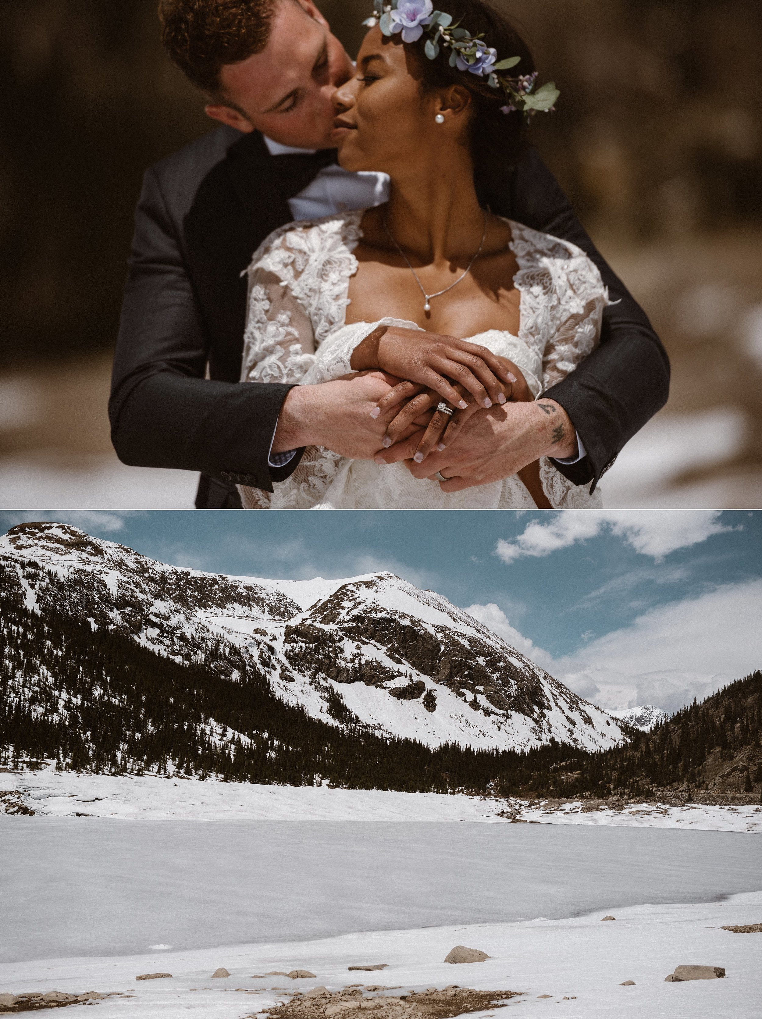 The embraced lovingly looking on at the frozen lake one last time before they moseyed home to take part in wedding cake. Photos of this winter hiking elopement through the Colorado mountains by intimate wedding photographer Maddie Mae.
