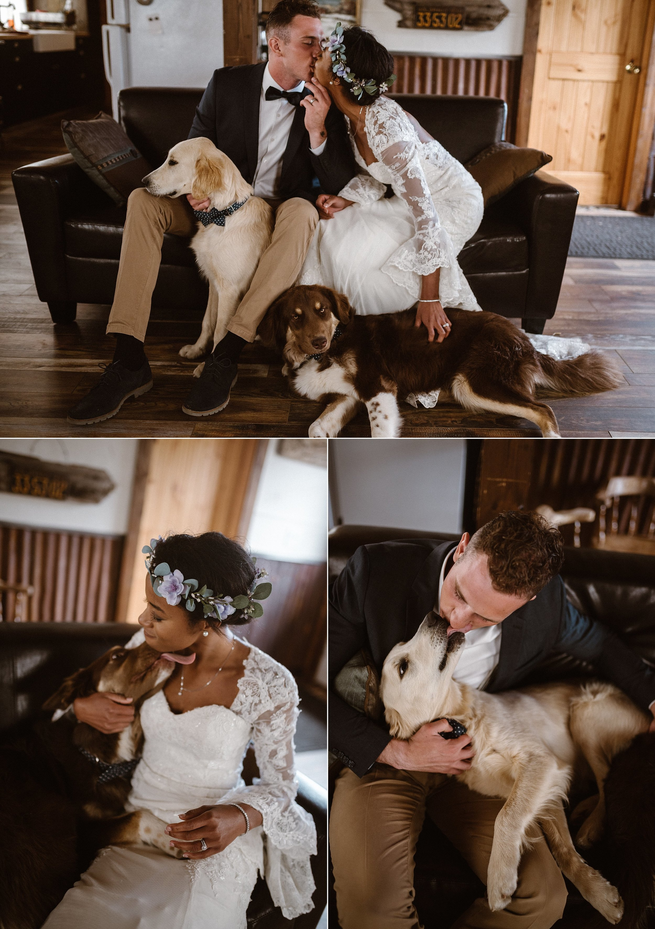Even their puppies dressed up for this special occasion. Matching both bride and groom with vintage style polka-dotted bow ties. This intimate Loveland Pass elopement photographed by traveling wedding photographer Maddie Mae.