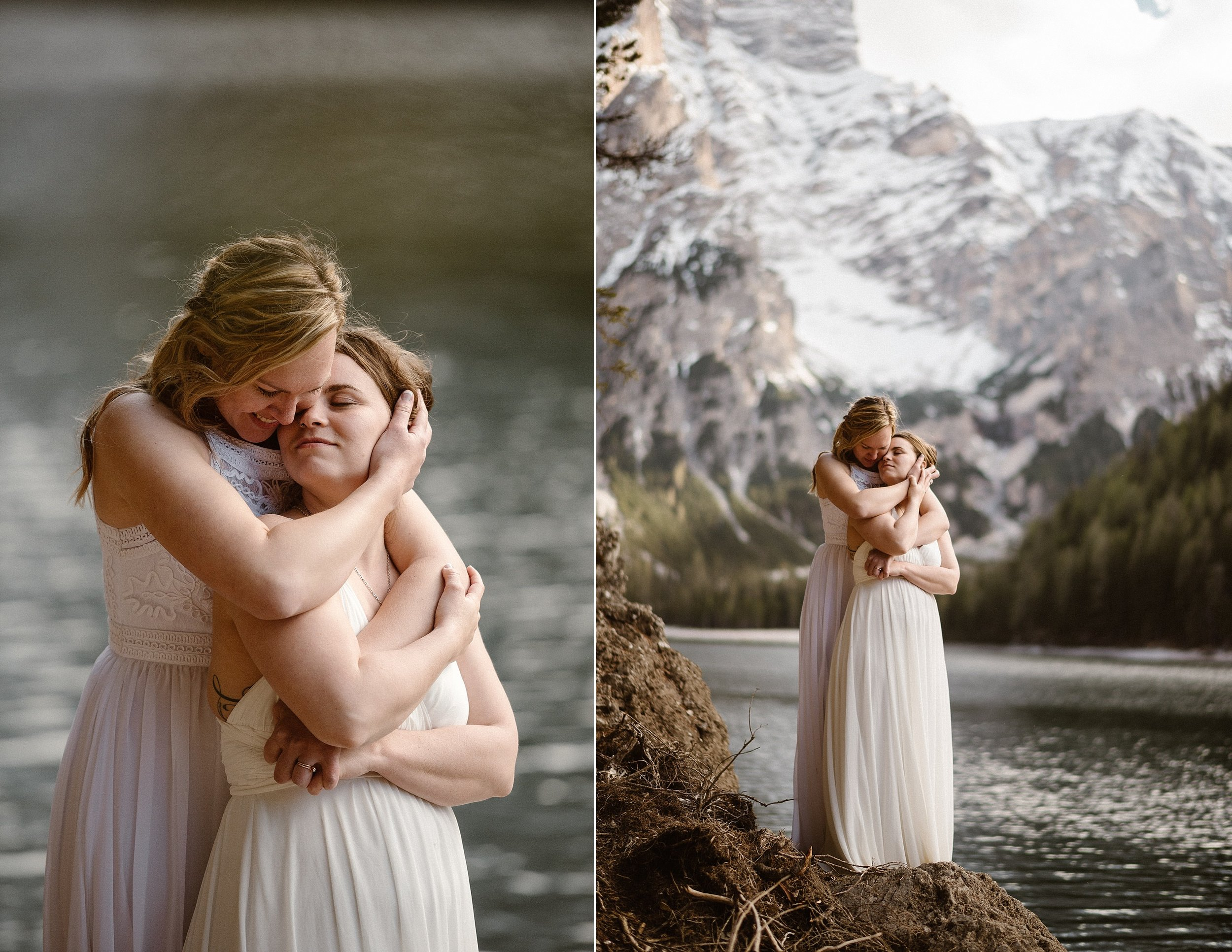 With the sun shining brightly they spent their first few minutes of married life walking along the water of Lake Braise with the Italian Dolomites in front of them. This intimate elopement captured by traveling wedding photographer Maddie Mae.