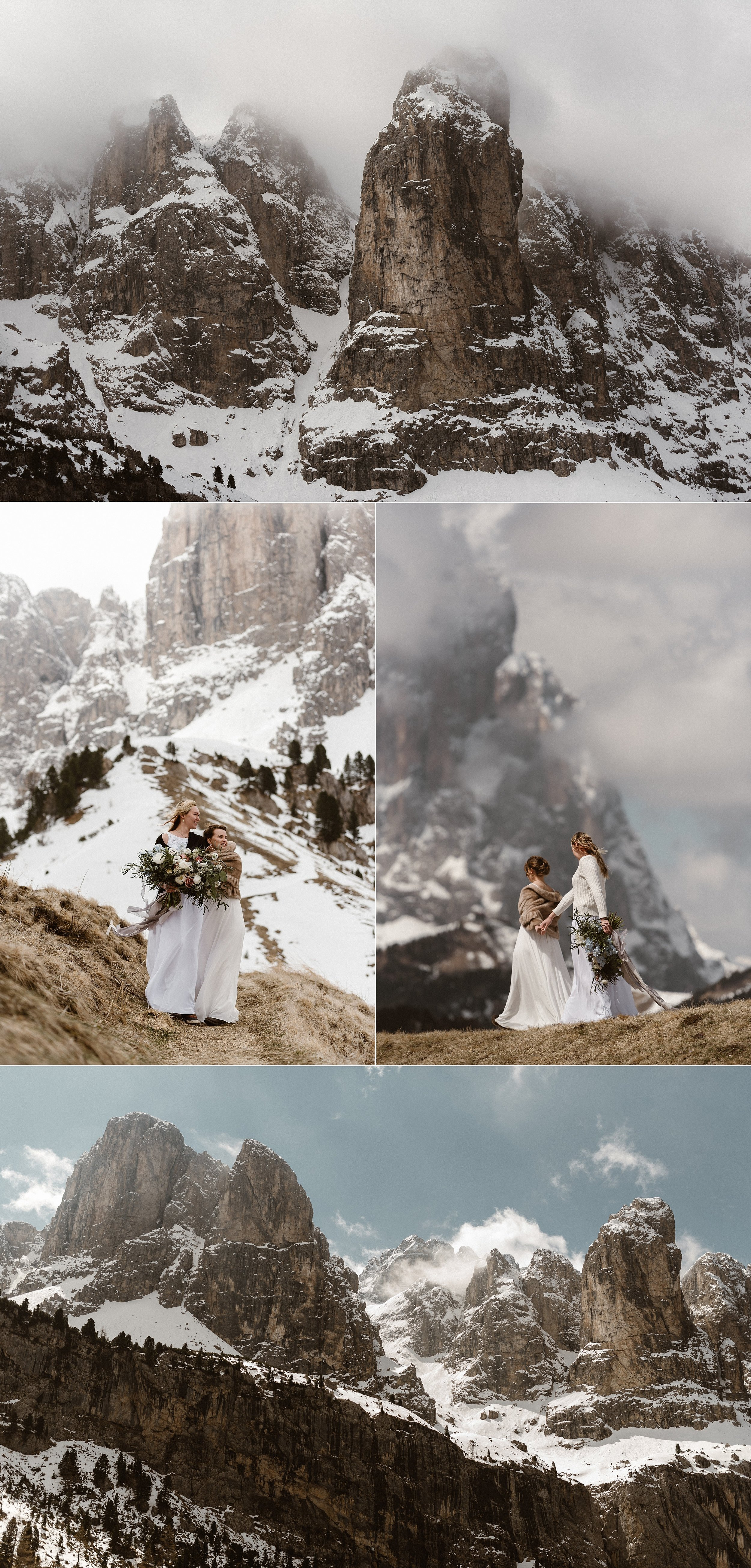 Taking their time to find the perfect intimate ceremony spot amongst the snow with the Dolomites looking down on them they began their hiking adventure for their non-traditional wedding ceremony. Photos by Maddie Mae Photography.