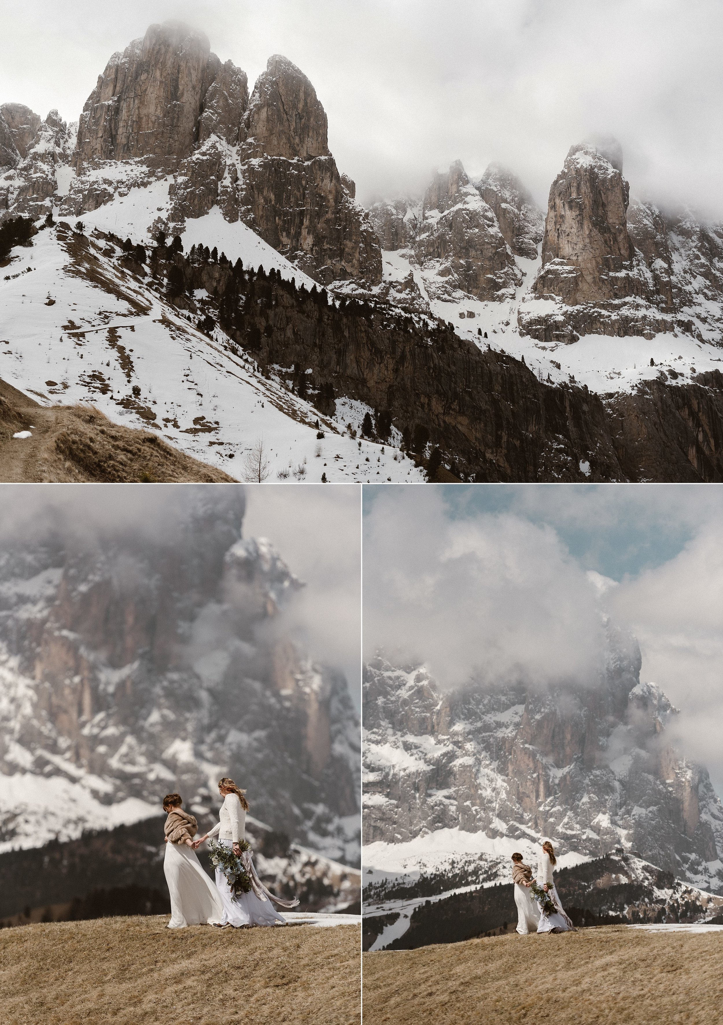 As the fog began to roll out from the highest peaks of the Dolomites and the wind began to pick up, these adventurous brides continued wandering through the foot hills with an oversized bouquet to find their perfect intimate elopement ceremony location. Photos by Maddie Mae Photography.