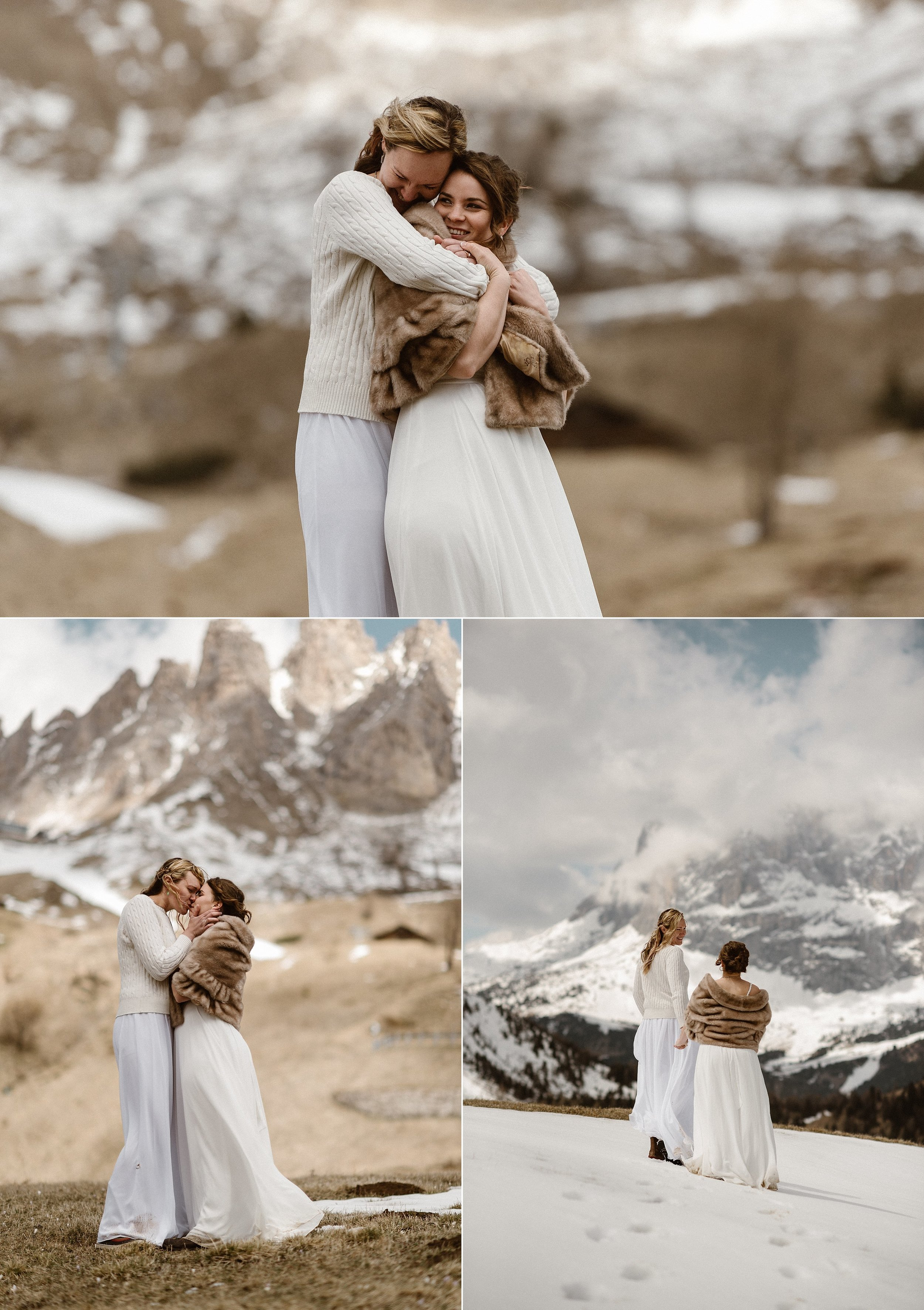 As the fog rolled in slowly they stopped to take in the amazing Northern Italian Dolomite mountains where they had picked for their intimate elopement ceremony. Photos by traveling wedding photographer Maddie Mae.