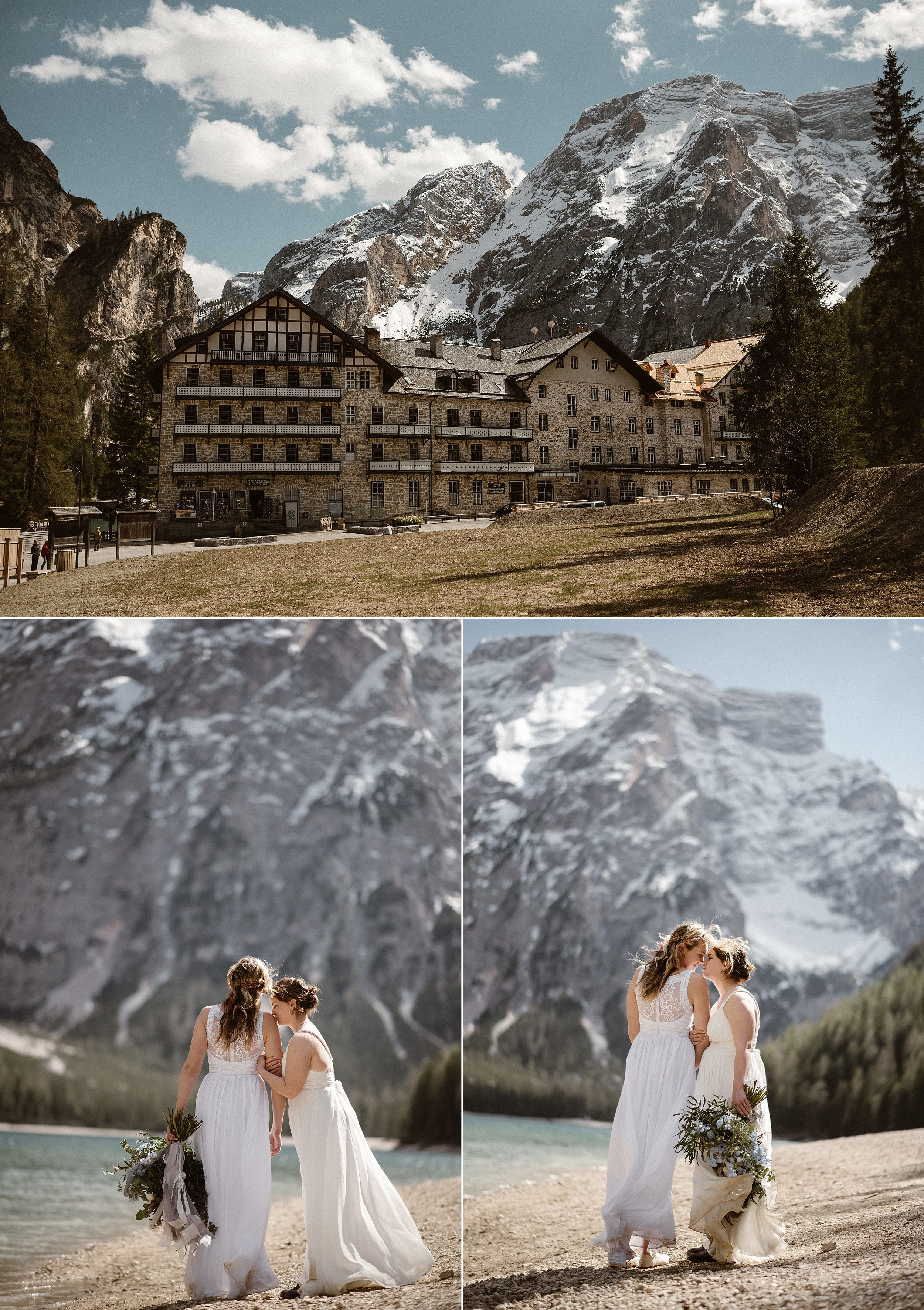 Taking in the sights, surrounded by the views of their dreams. These gorgeous brides picked the perfect spot along Lake Braise with the Dolomites behind them for their intimate elopement ceremony. Photos captured by traveling wedding photographer Maddie Mae.