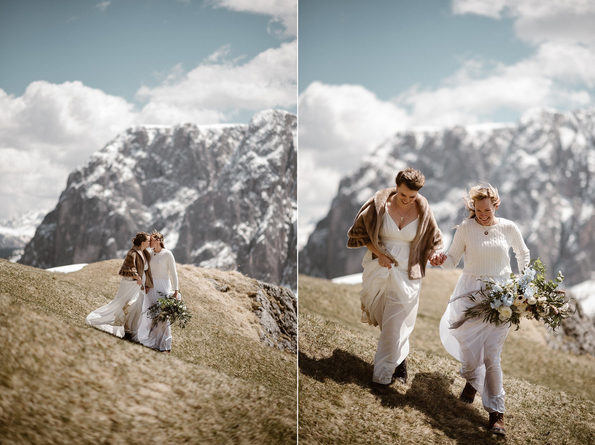 Hiking their way down the Italian Dolomites' Gardena Pass and on to their next location for their intimate and non-traditional elopement through Northern Italy with wedding photographer Maddie Mae by their sides to capture every sweet moment.